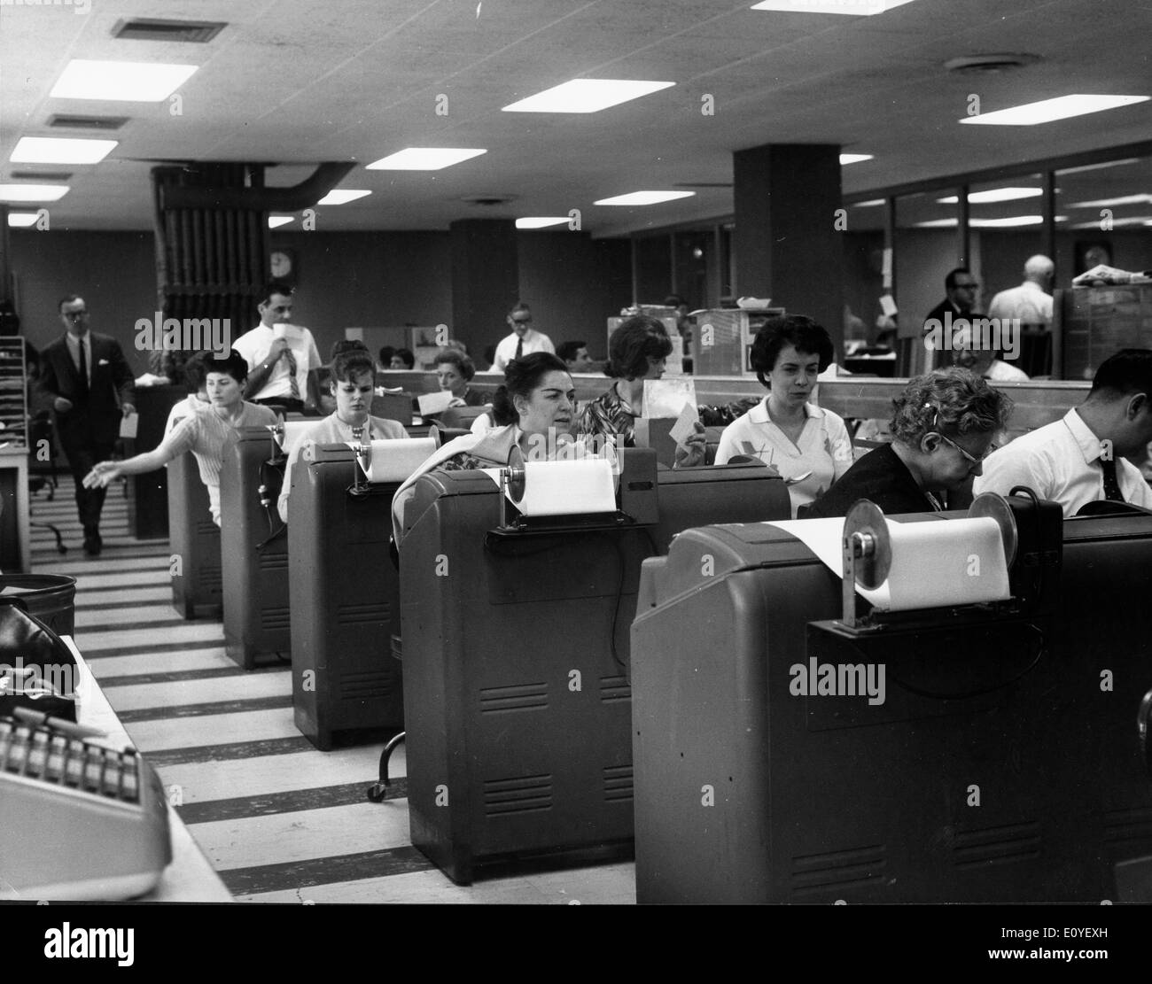 Jan. 01, 1970 - New York, New York, U.S. - File Photo: circa 1970s. Employees at Goodbody and Co., one of the largest investment firms in the U.S. - Stock Image