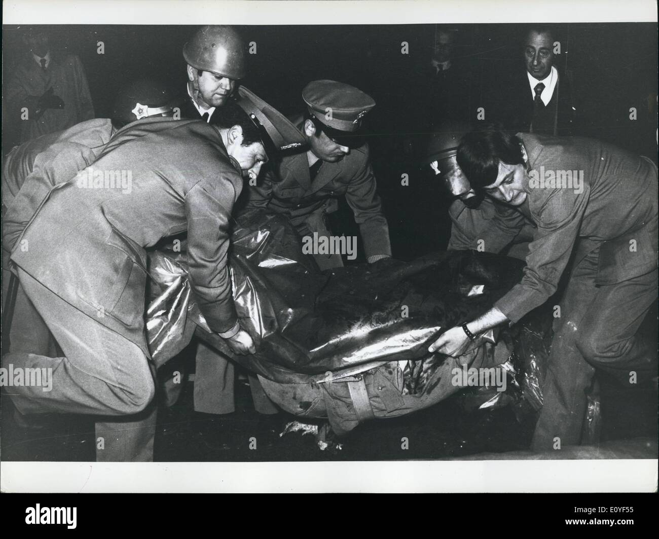 Jan. 1, 1970 - Milan Civil war: 22 year old Police agent torn to pieces by Fascist bomb. 31 persons wounded many agents have sobbed publicly. Antonio Marino, a 22 year old police agent, was torn to pieces when a bomb thrown by one fo the many new-fascist, blasted right wear killing hi instantly. This was another of the many days of extraordinary violence of Neo-Fascists who challenge openly all democratic institutions (State Government in Rome and Regional Governments everywhere) As known, the prefect of Milan had issued an order that during the period of the Milan fair, no public - Stock Image