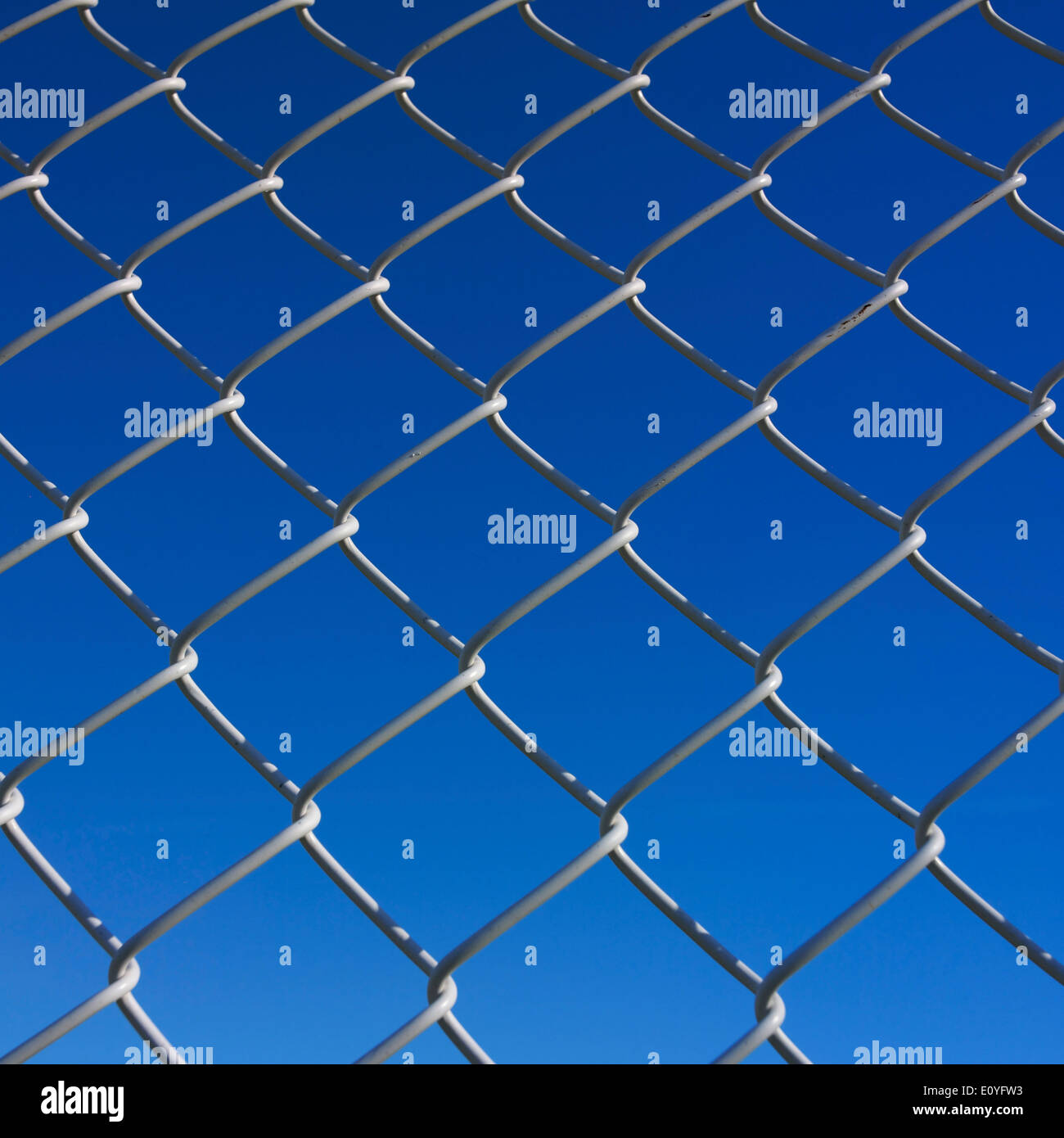 Wire mesh fence, wire netting on a fence, blue sky, background image - Stock Image
