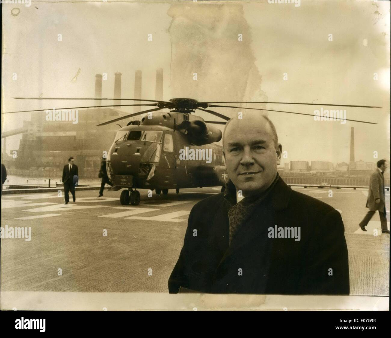 Apr. 04, 1970 - Demonstration Helicopter Flight from London to Paris.: The United States Marines loaned a Sikorsky S-65 helicopter, to carry over 30 aviation VIP's from Battersea Heliport, on a demonstration flight to Issy-les Moulineaux, in Paris, to shows its potential as a commercial airliner for shot-haul service. The S-65 helicopter can demonstrate the feasilibilty of economic air travel between the centres of these two cities in less than one and one-half hours. Photo shows Sergei I - Stock Image