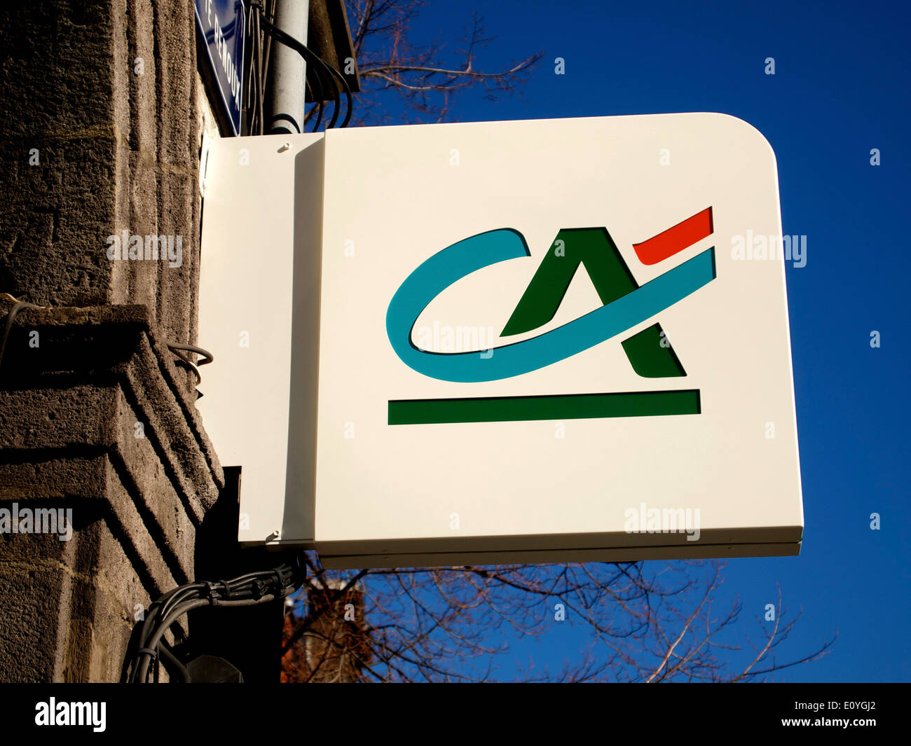 Credit Agricole bank sign, France - Stock Image