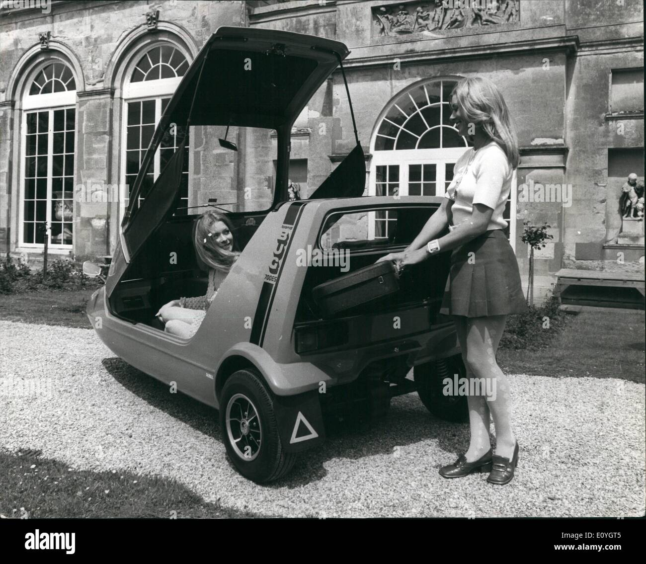 May 05, 1970 - The ''Bond Bug - The Youth Car Of The 70's: The Bond Bug, a revolutionary two seater claimed to be the first vehicle designed exclusively for the 17 to 25 age group, This new Rellante Motor Group Production launched with the confident aim of it becoming as big a trend setter in its field during the 1970s as the mini was in the last . Three versions are being offered they are the basic 700 ''Bara Bug medal (priced at 548, 0.4) the 700E (579.7.0) which has full ther equipment and styling refinementand the 700ES (328.19 - Stock Image