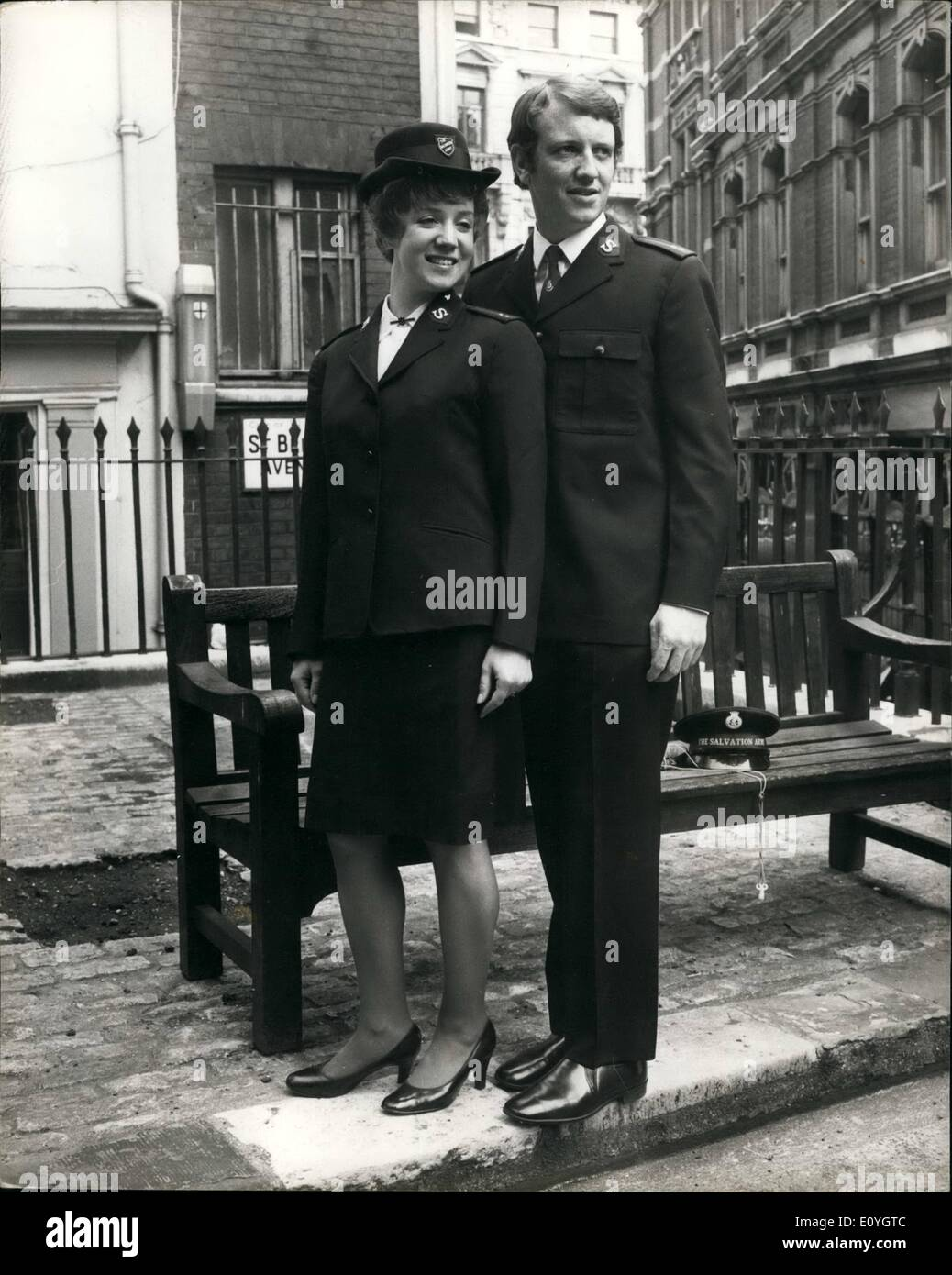 May 05, 1970 - New-Style Salvation Army Uniform for men and woman: A new-style uniform for salvationists was shown for the first time today. For officers - the Movement's full-time ministers - the new style is available for summer month only. For laypeople - the soldiers, bandsmen and songsters- the new uniform may be worn all the year round. But Traditionalists who wish to continue wearing the ''stand-up'' collar may still do so - Stock Image