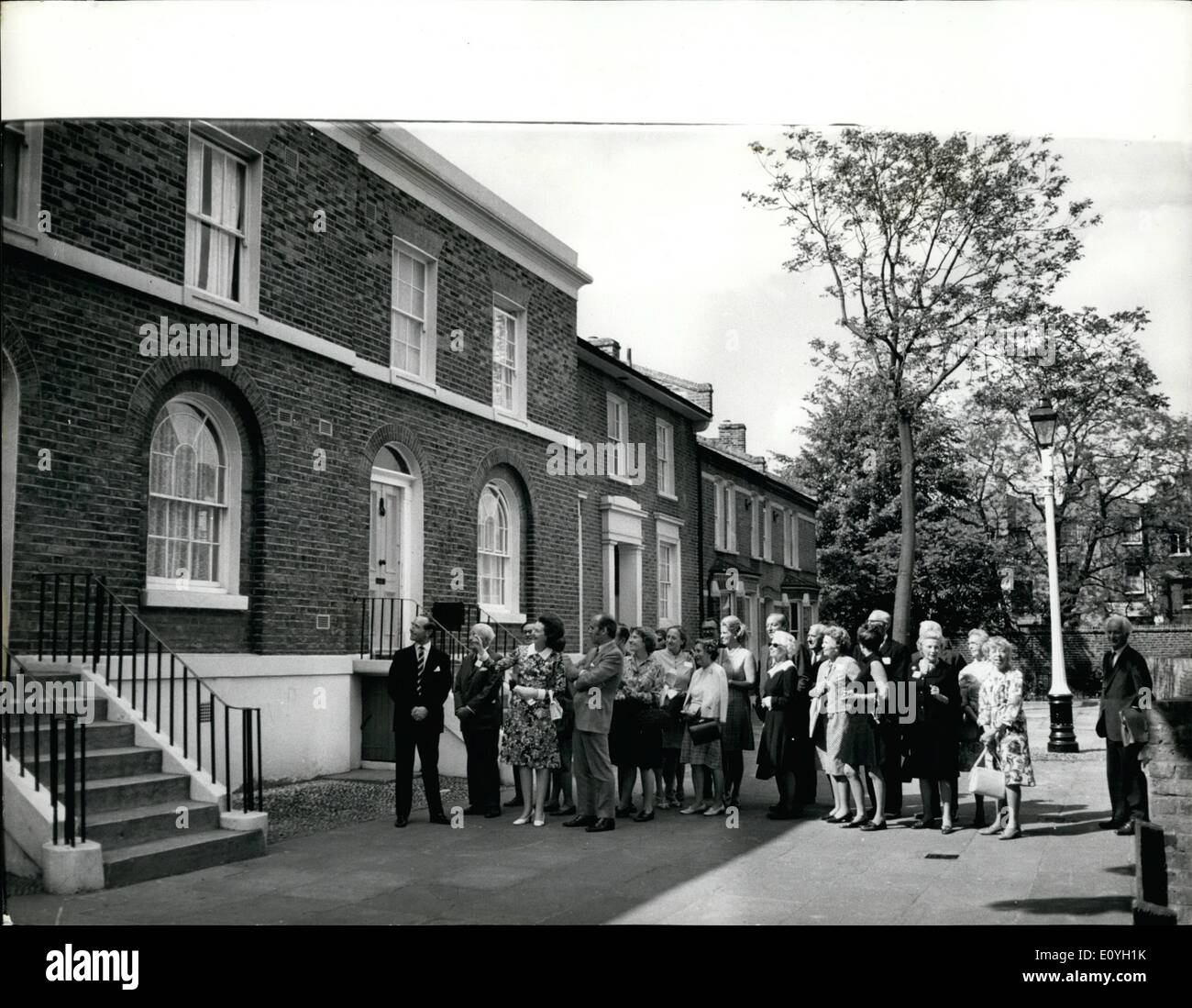May 05, 1970 - Americans See GLC Rehabilitation Scheme. A party of Americans from the National Trust for Historic Preservation in the U.S.A. visited a prize-winning Greater London Council rehabilitation scheme during a whistle-stop tour of buildings of architectural interest. The scheme at Portland Grove, Lambeth, in which ten early 19th century houses were rehabilitated (refurbished on the outside, modernised on the inside) received a Civic Trust Award. It is part of a large rehabilitation programme being carried out by the Council in various parts of London - Stock Image