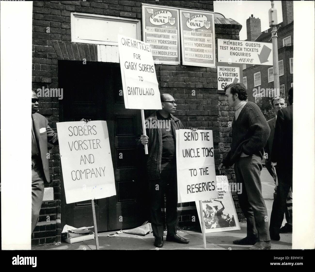 May 05, 1970 - Demonstration at the Oval.: West Indian cricketers playing for English countries will be 'pilloried' if they refuse to support calls to stop the South African tour, the West Indian Campaign against Apartheid cricket said yesterday.. The campaign has had only five replies to 30 letters sent to all West Indian and Asian players in Britain urging them to refuse to help the promotion of the tour by publicly declaring they would Sobers and three other coloured players in the Nottinghamshire team was held at the oval today, where Notts play Surrey - Stock Image