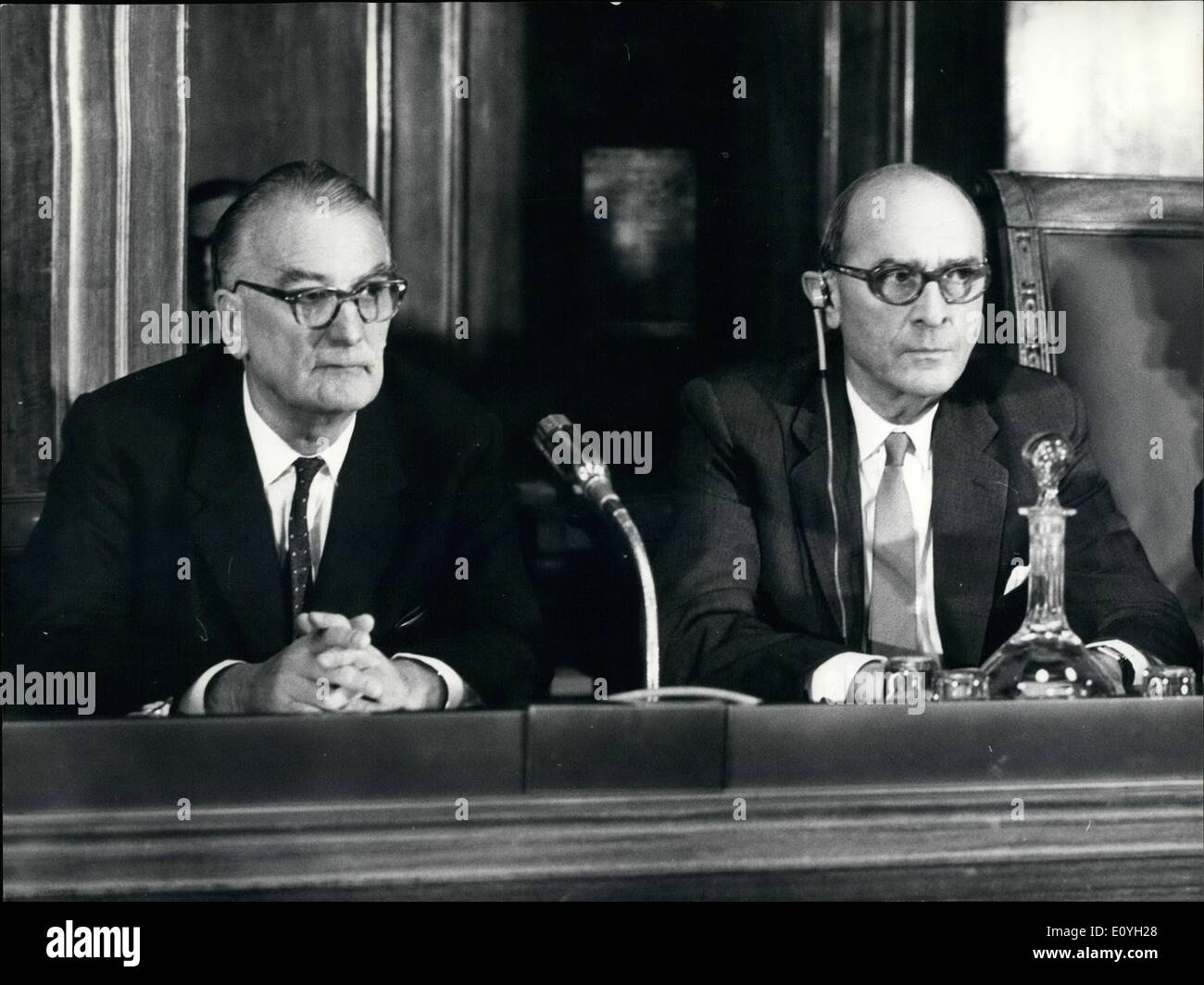 May 05, 1970 - The new general director of ILO Photo shows The old director of ILO, David Morse (Right) and Wilfried Jenks (left) the newly elected director. - Stock Image