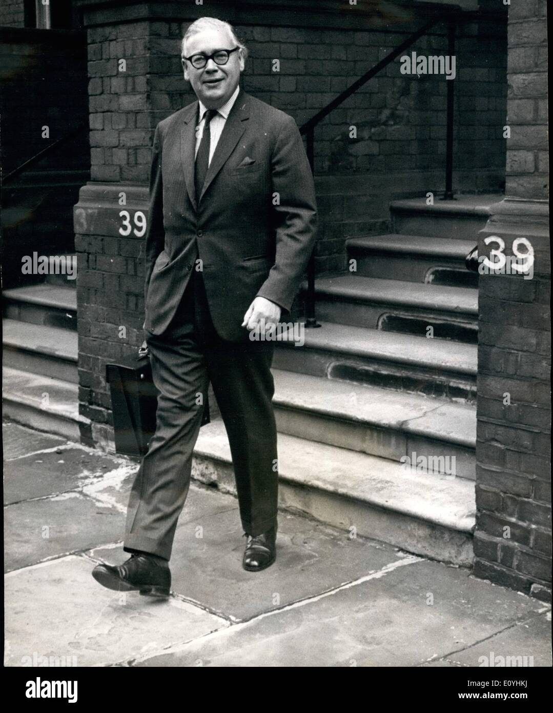Jun. 06, 1970 - Mr. Geoffrey Rippon is New ''Mr. Europe''.: Mr. Geoffrey Rippon, former Minister of Technology, will succeed Mr. Anthony Barber as Chancellor of the Duchy of , with responsibility for the Carmen Market negotiations. Photo shows Mr. Geoffrey Rippon leaving his home for the foreign office this morning. - Stock Image