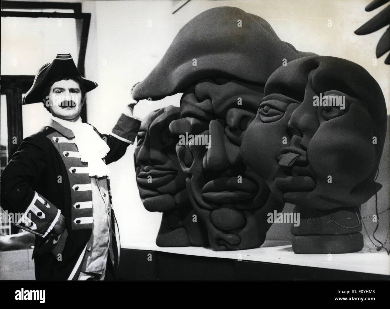 Jun. 06, 1970 - 250th birthday of Baron Muenchhausen: the famous ''lying baron''. on the occasion of his 250th anniversary a Munich gallery is exhibiting three plastic head by sculptor Olaf Taeuberhahn,,who made all three of them look like Baron Muenchhausen. But only one of them is the ''real'' Baron and the visitor will have to find out for himself which one. But- inside each of the plastic heads there are small record players giving hints as to the right head or not. - Stock Image