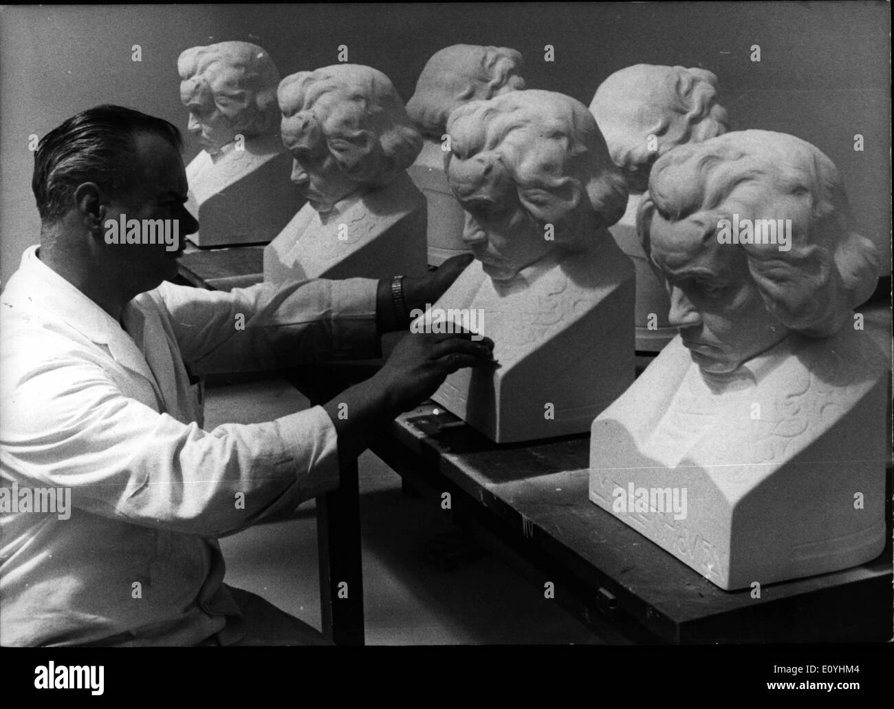 Jun. 06, 1970 - They go all over the world.: these Beethoven busts of which, as a whole, 145 items have been produced in the workshop of the District Museum of Bonn. Werner Maslaukowsky ( Maslaukowsky - Picture ), head of this workshop, who has absolved an apprenticeship as a chemical engineer, at first made a from of India rubber, according to a model by the Cologne sculptor J.B. Sohreiber, which was then cast out with plaster. Subsequently each bust got a manual finish. The works of art, made on the occasion of Ludwig van Beethoven's 200th anniversary on Dec - Stock Image