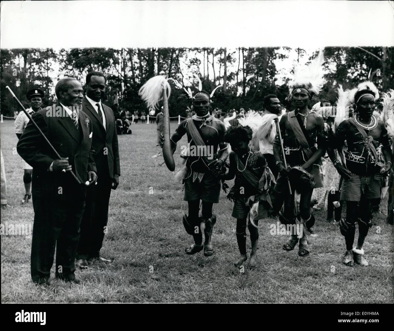 Jun. 06, 1970 - Kenya celebrates 7th. Anniversary of self government.: Kenya celebrated its 7th anniversary of Self Government on June 3rd. President Kenyatta, on left, is seen with a group of tribal dancers in the grounds of State House, Nairobi when President Kenyatta gave a Garden Party attended by many thousands of Kenyans. Kenya's Vice President, Mr. Moi, joined President Kenyatta in the dance with the tribal dancers. This was to mark the end of Madaraka Day celebrations in Kenya. - Stock Image