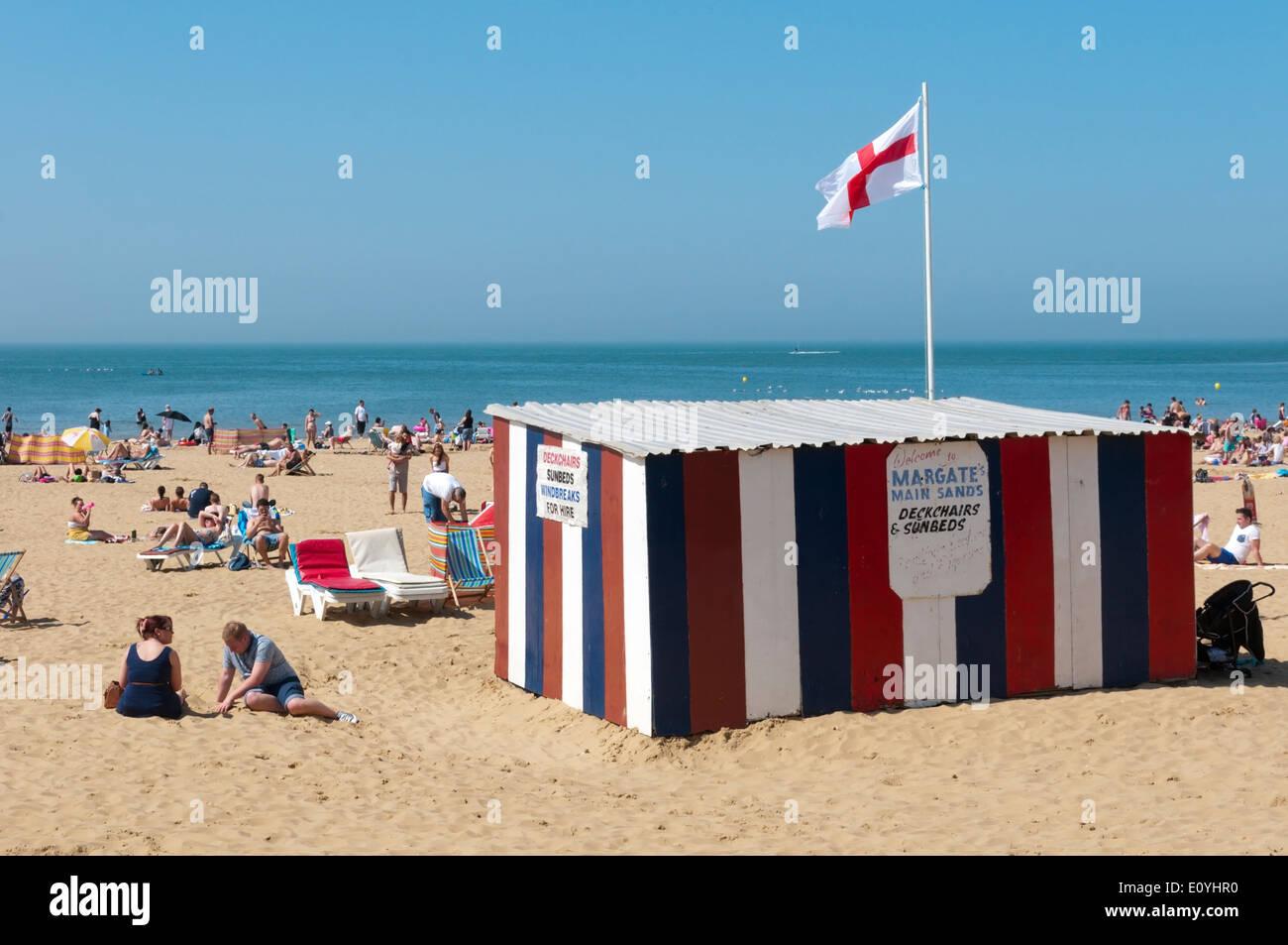 Deckchair hire on Margate beach, Kent. - Stock Image