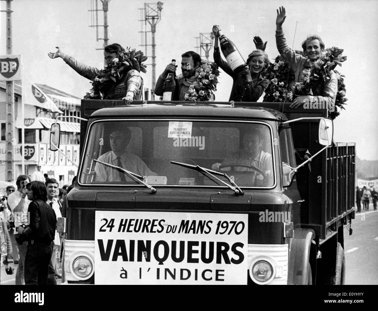 Jun 15, 1970; Le Mans, France; HANS HERMANN (L) and RICHARD ATTWOOD (R) won the trophy with their Porsche at Mans 1970. The - Stock Image
