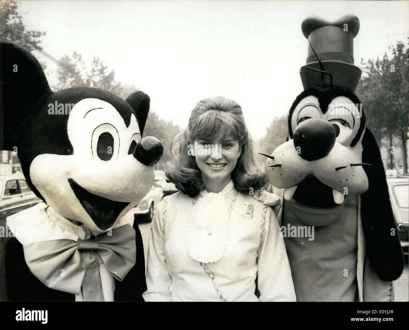 Jun. 18, 1970 - Cathy Birk with Mickey and Goofy in Paris - Stock Image