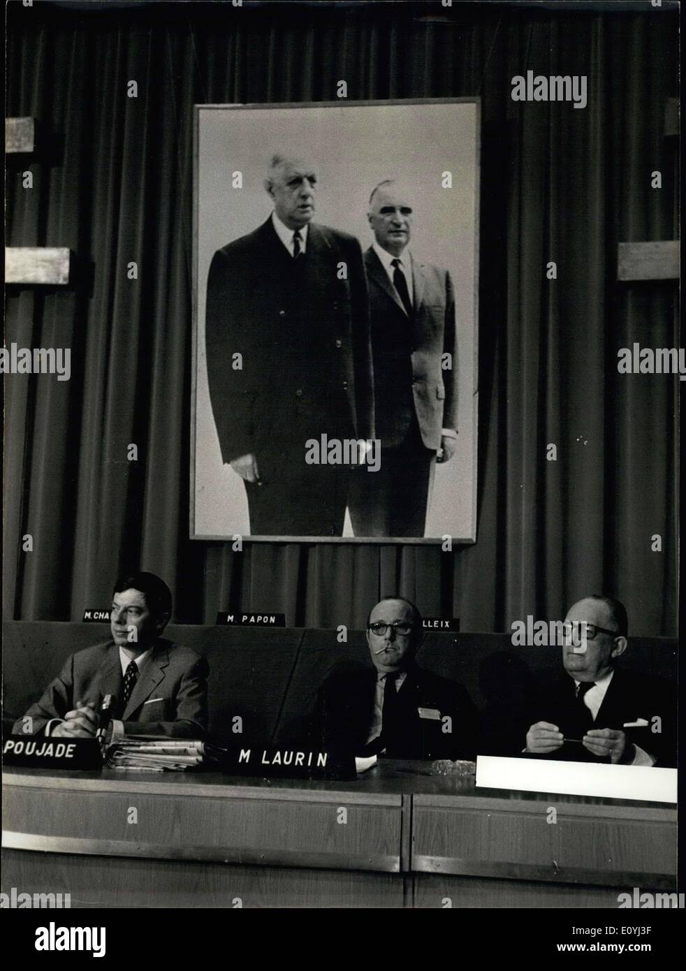 Jun. 25, 1970 - The National Council of the Union of Democrats for the Republic opened today in Versailles in the presence of many government officials. Poujade is the General Secretary of the party. Laurin is the Hauts-de-Seine representative, and Schumann is the Foreign Affairs Minister. - Stock Image