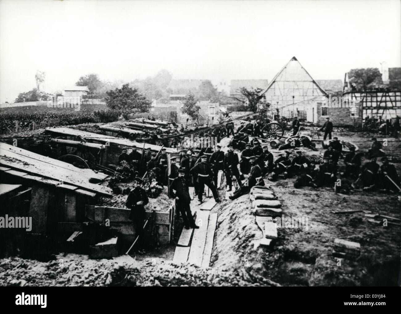 Jul. 07, 1970 - Franco-German War: On July 9th, 1870, France declared war to Prussia. The France Photo shows. Prussian artillery, laying siege to the city of Strasebourg. - Stock Image