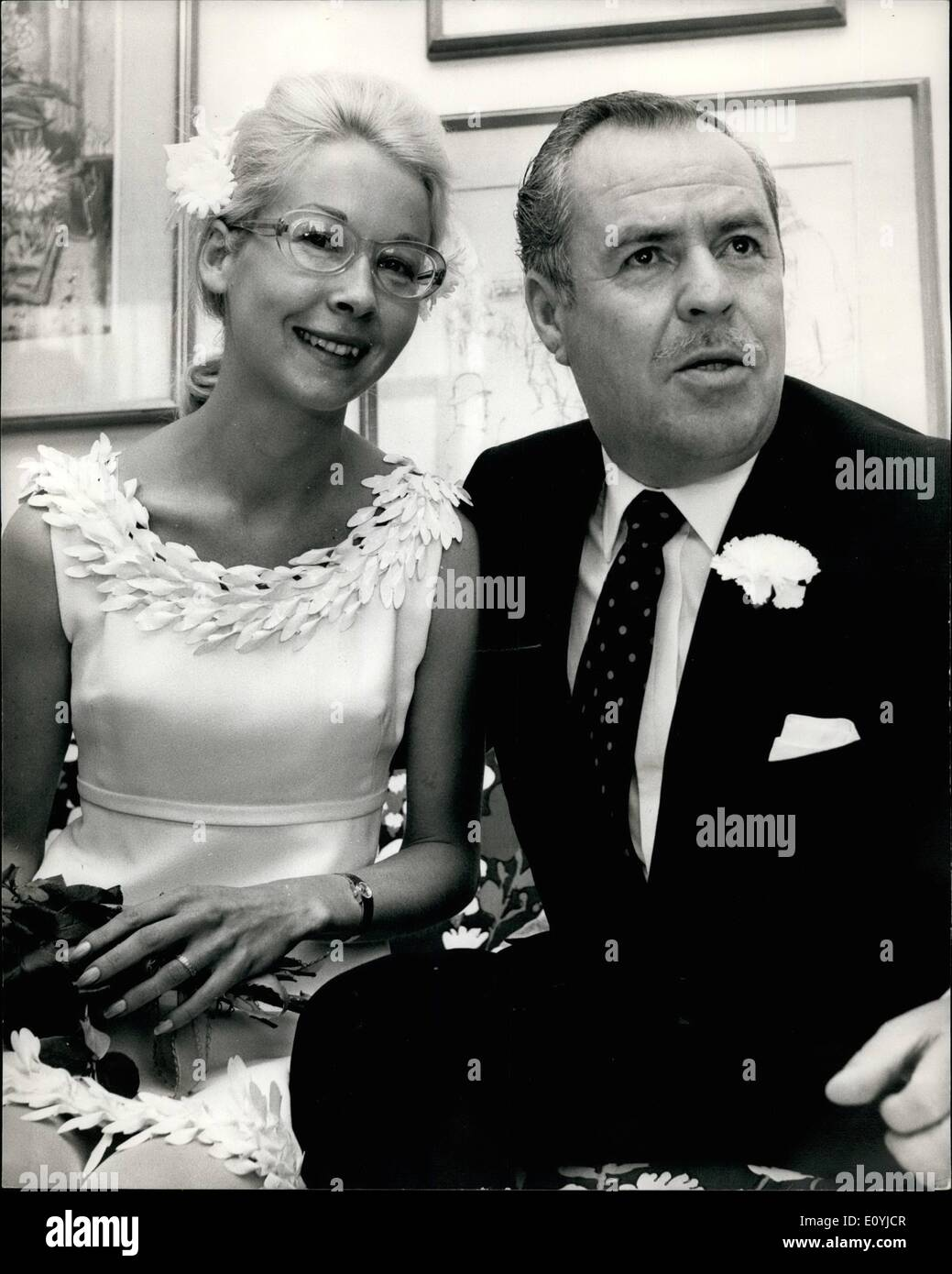 Jul. 07, 1970 - Ex-Spy Greville Wynne Marries: Greville Wynne, the British businessman jailed by the Russians on Spy charges in - Stock Image
