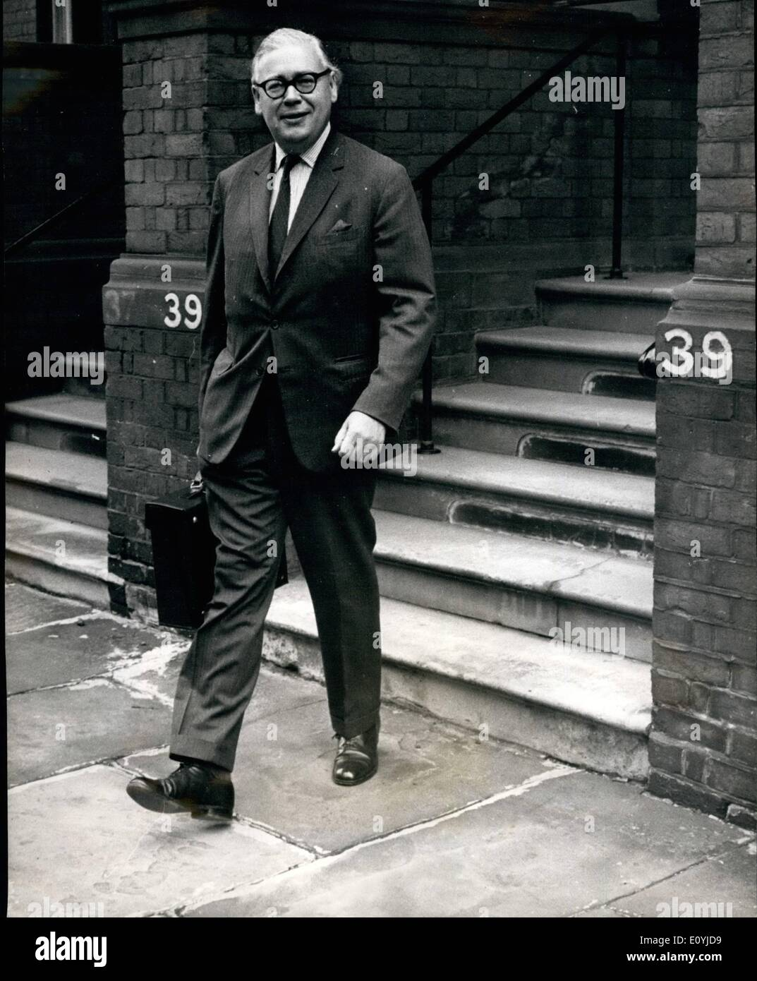 Jul. 07, 1970 - Mr. Geoffrey Rippon is new ''Mr Europe''. Mr. Geoffrey Rippon former minister of Technology, will succeed Mr. Anthony Barber as Chancellor of the Duchy Lancaster, with responsibility for the Common Market negotiations. Photo shows Mr. Geoffrey Rippon leaving his home for the Foreign Office this morning. - Stock Image