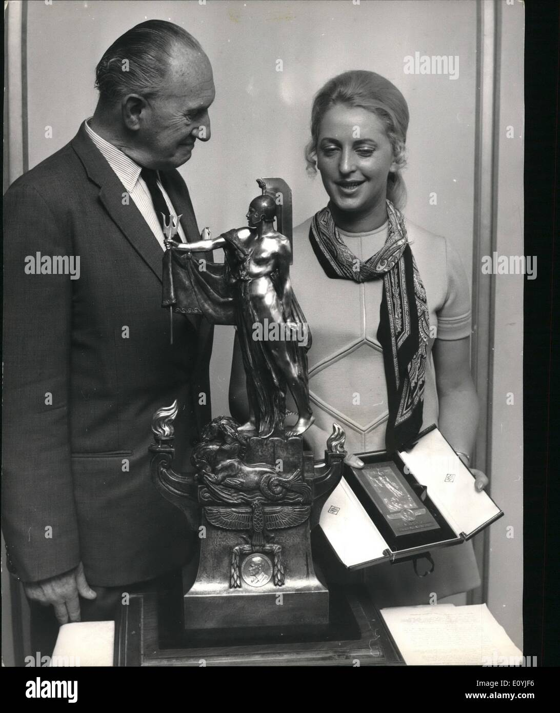 Jul. 07, 1970 - Segrave Trophy Presented To Bruce McLaren's Widow New Zealand Driver Honoured For Outstanding Achievement: Stock Photo
