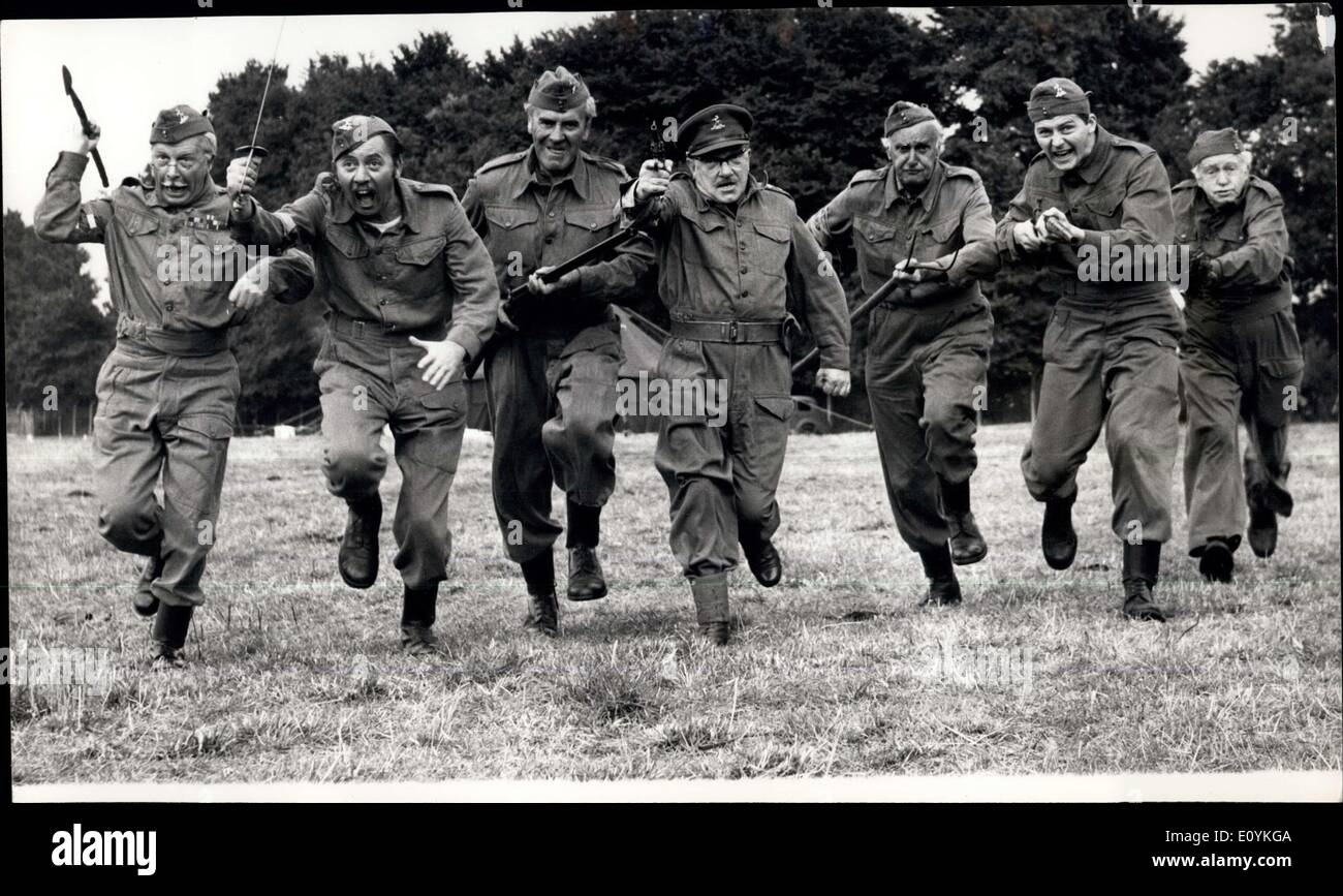Aug. 20, 1970 - Film Version of ''Dad's Army''. Scenes were being shot today at Shepperton studios for the film Version of the famous TV series ''Dad's Army. The film is produced by John R. Slean for Columbia. Norman Cohen directs from a screen play by Jimmy Perry and David Craft. Photo shows The ''battling veteran'' of Dad's Army, seen charging with their variety of weapons, during today's shooting at shepperton studios - Stock Image
