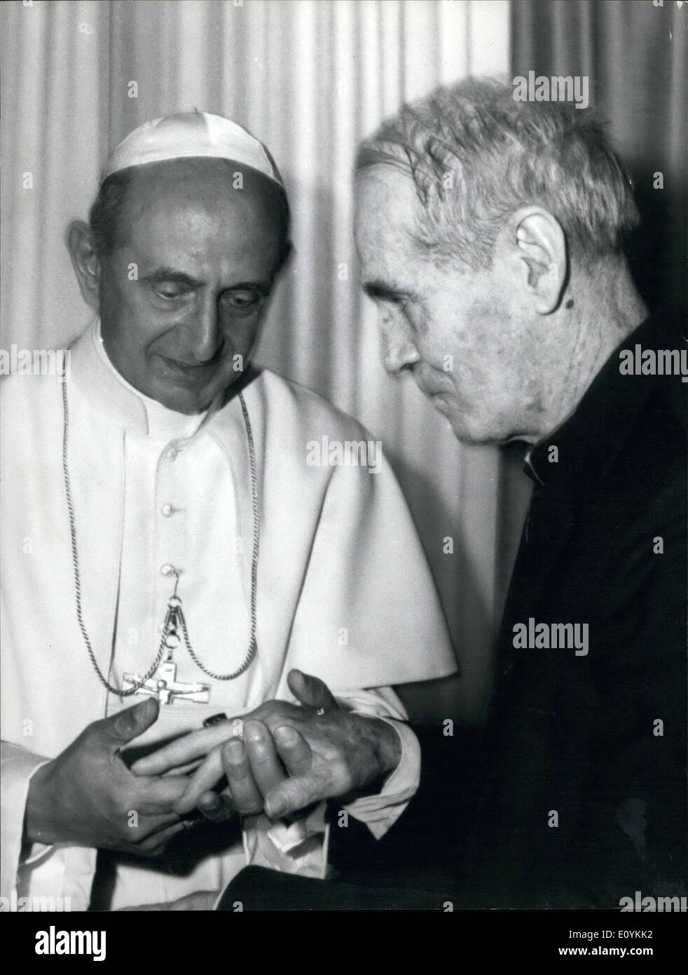 Aug. 25, 1970 - Walsh, the American prelate who was imprisoned for several years in the Pekin prisons for spying and recently released, was received today by Pope Paolo VI at his summer home in Gandolfo Castle by a private audience. - Stock Image