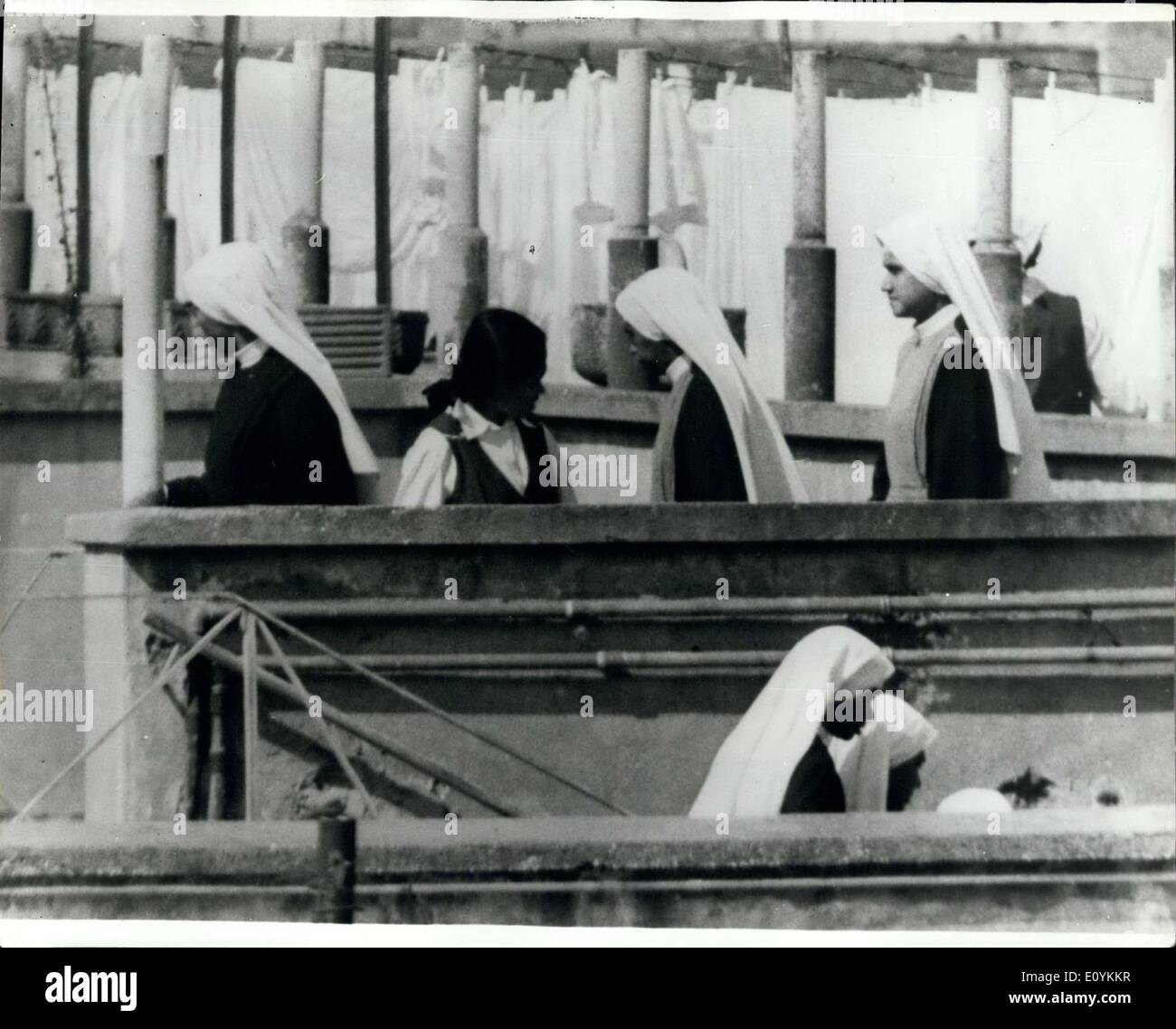 Aug. 27, 1970 - Vatican Denies''Trade'' in Nuns: The Vatican has denied that there was any ''trade'' involved in recruiting Indian girls for Roman Catholic convents in Europe and Britain which were short of nuns.But the Vatican acknowledged that there had been some draw-backs in the recruiting system,and there may have been irregularities in ''limited cases''. Photo shows This picture, taken on Tuesday.shows Indian nuns at a Catholic institution near the Vatican. - Stock Image