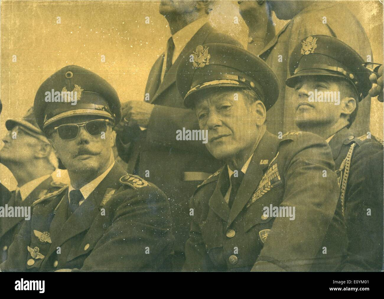 Sep. 09, 1970 - German American Air Force Maneuver ''Black Sky'', September 7th to 10th, in the South of the Federal Republic. Photo shows watching the maneuver - General Johannes Steinhoff, FRG, (left) and the American four-star General J.R. Holzapple. - Stock Image