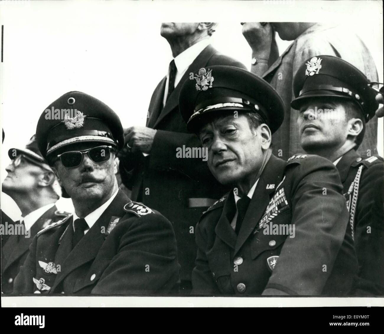 Sep. 09, 1970 - German-American Air Force Manoeuvre ''Black Sky'' : The German-American Air Force Manoeuvre ''Black-Sky'' was held in the South of the Federal Republic from the 7th - 10th September. Photo Show watching the manoeuvre are General Johannes Steinhoff (German Federal Republic) on left, and the American Four star General J.R. Holzapple. - Stock Image