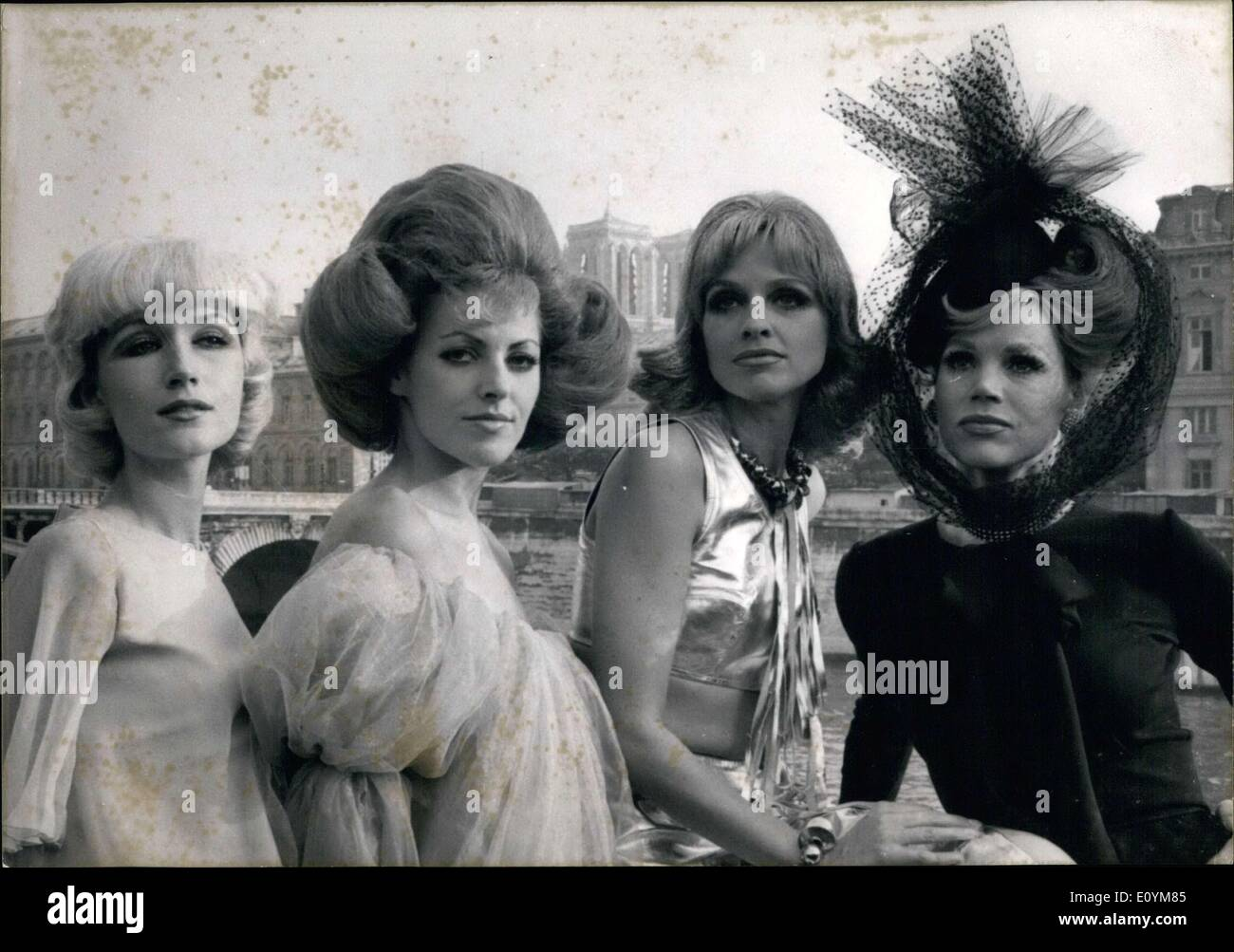 Sep. 21, 1970 - Models Wear Different Guillaume Hairstyles from 1930 Thru 1971 APRESS. - Stock Image