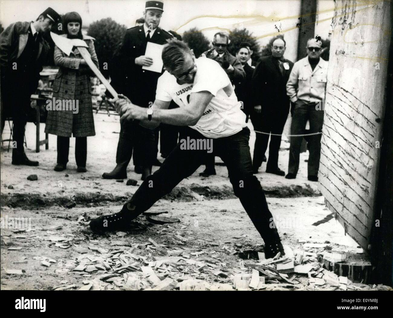 Oct. 05, 1970 - Maurice Poirot During a Lumberjack Competition - Stock Image