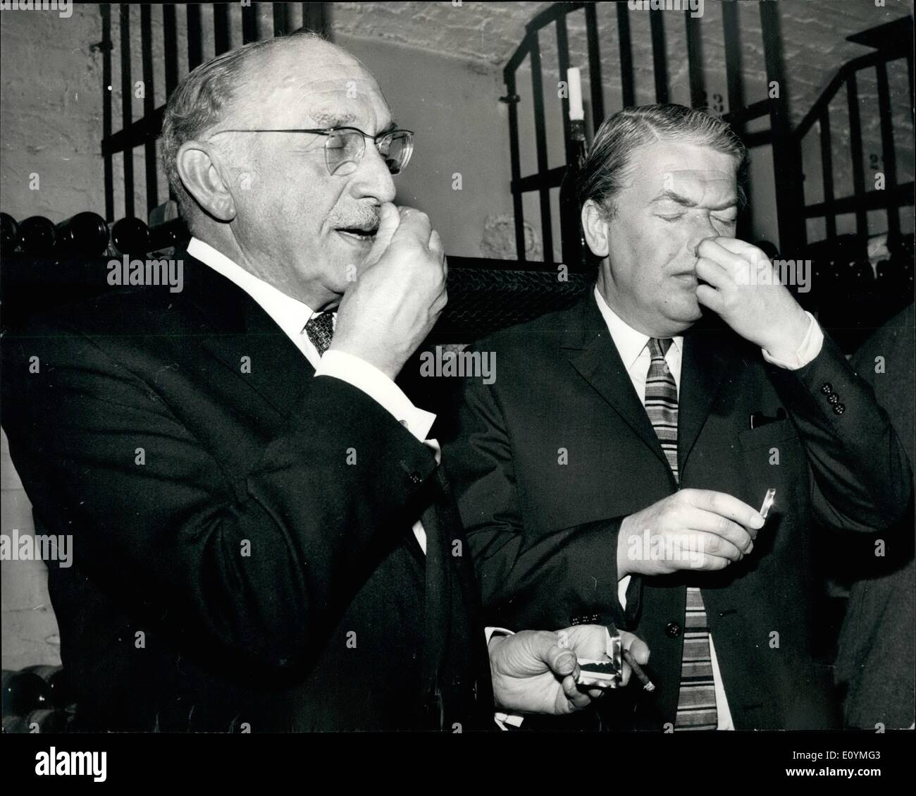 Oct. 10, 1970 - Kingsley Amis Becomes Member Of Society Of Snuff Grinders, Blenders And Purveyors: In a ceremony - Stock Image