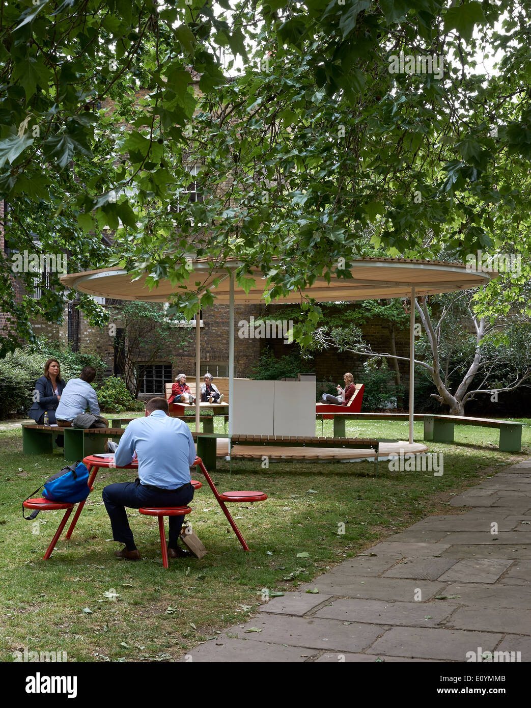 Street Furniture by Vestra with pavilion designed by Snohetta for Clerkenwell Design Week 2014, London - Stock Image