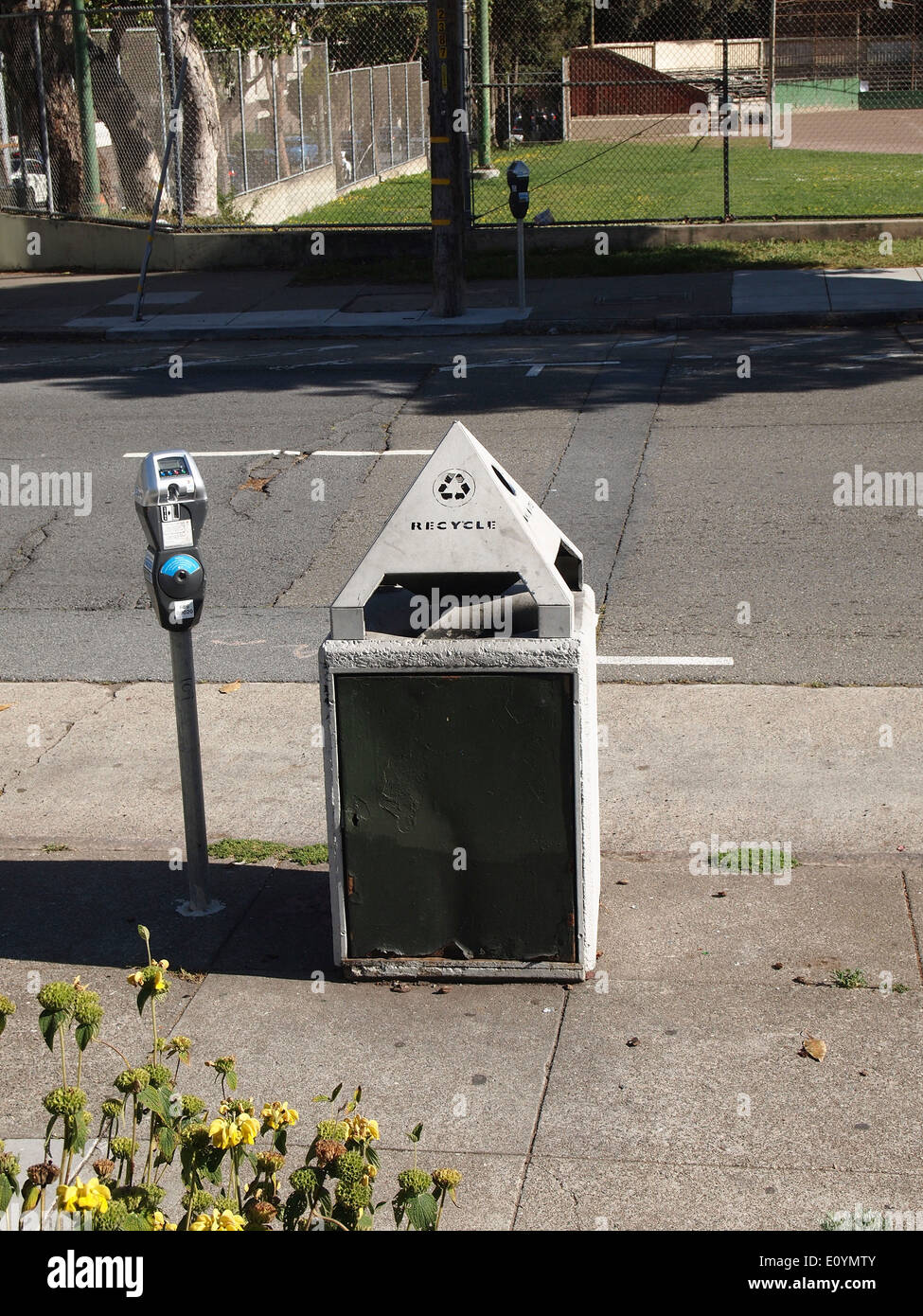 recycling container & parking meter, San Francisco - Stock Image