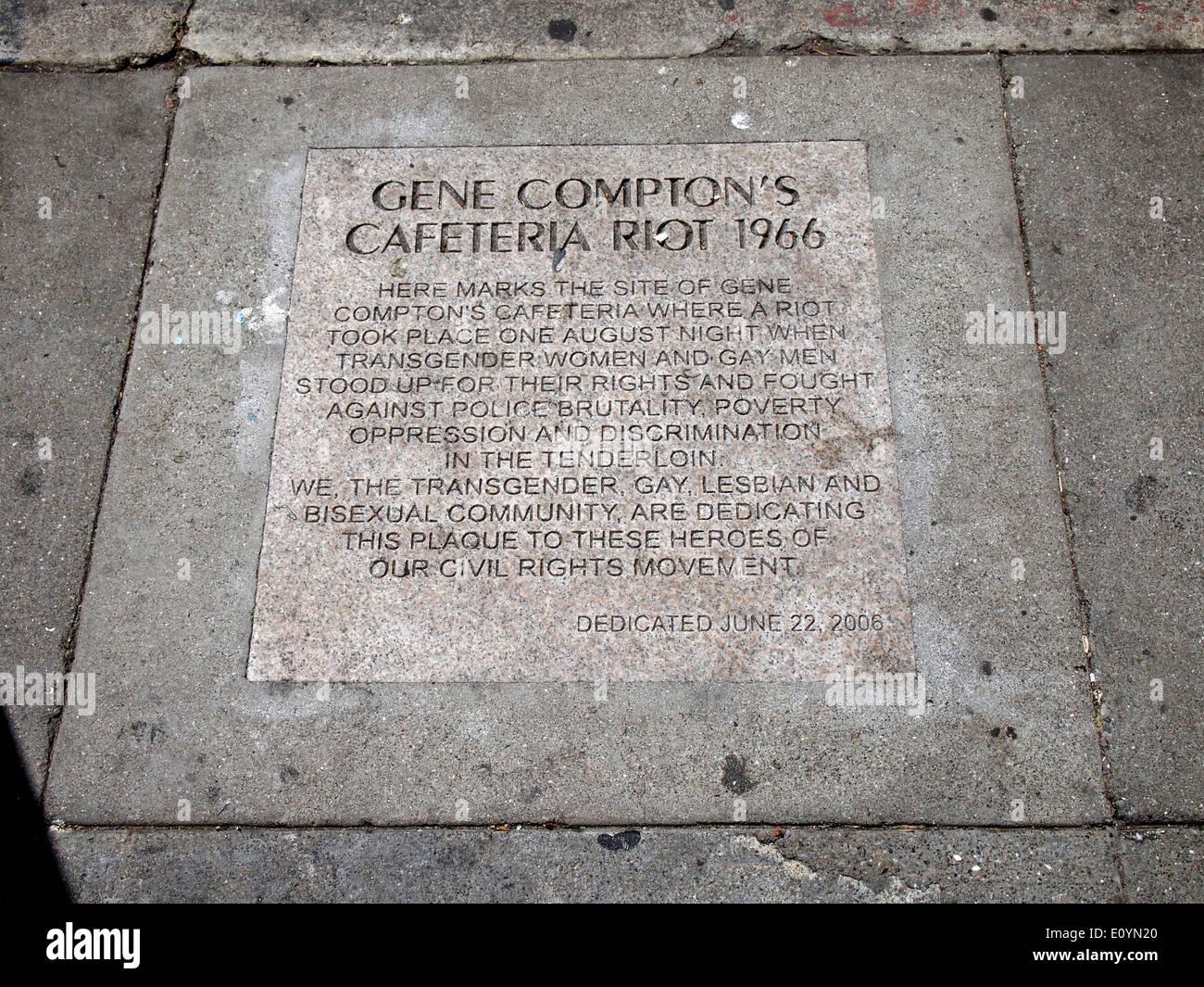 Compton's Cafeteria Riot 1966 plaque - Stock Image