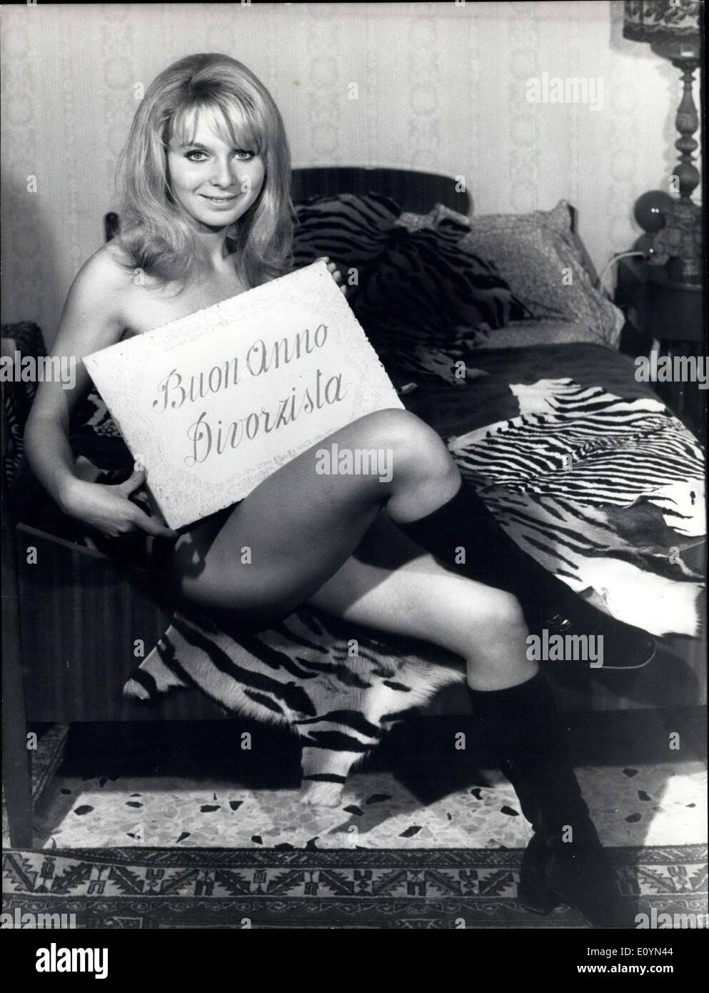 Nov. 11, 1970 - Beautiful blonde actress Franca Gonella wishes ''Happy New Year's'' to the ''next'' divorced, after the Law of the Divorce was approved by the Parliament. She is marriage able girl. - Stock Image