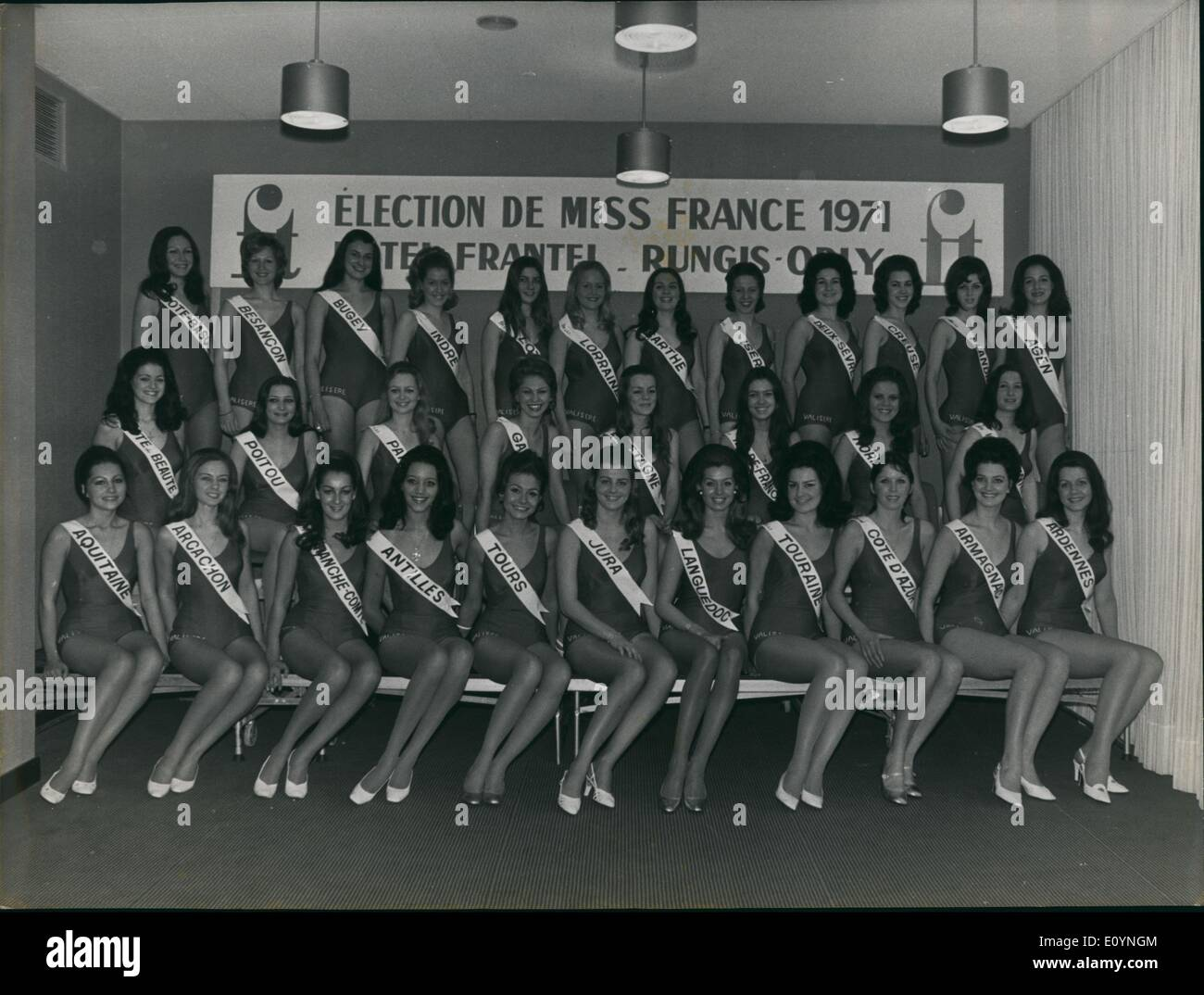 Dec. 12, 1970 - The 31 prettiest girls from our provinces will participate in the Miss France beauty pageant on Stock Photo