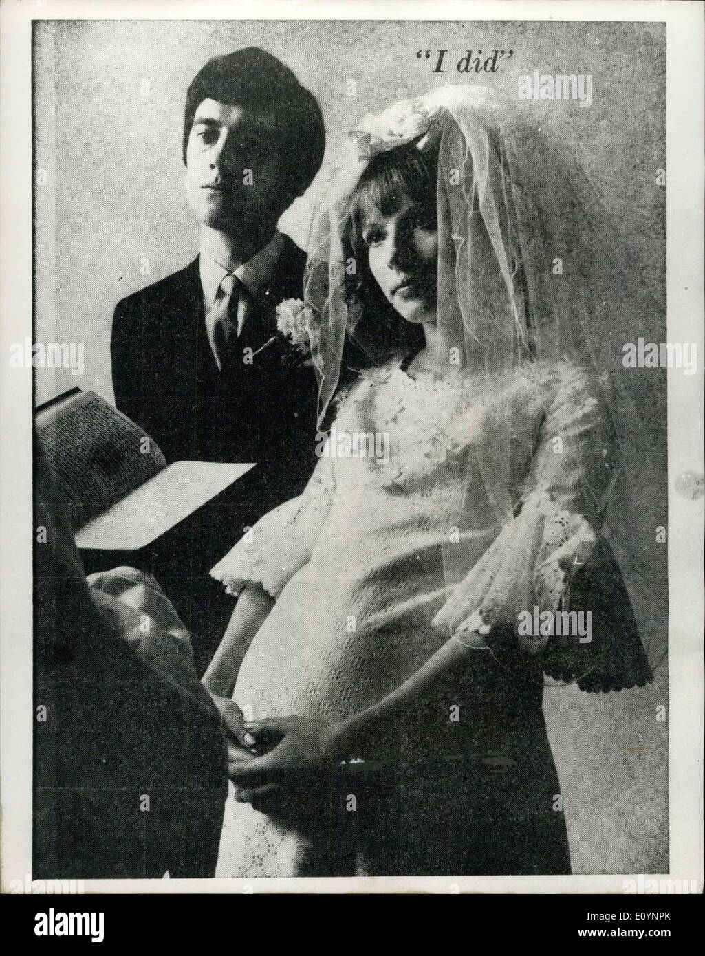Dec. 29, 1970 - December 29th, 1970 Pregnant Bride advert too shocking. The pregnant bride was meant to shock people. But she has turned out to be a little too pregnant. and much too shocking. The bride follows Casanova and the Pregnant Man in a big birth-control campaign. She appears all dressed up for church and conspicuously maternal, in a pamphlet on contraception, published by the Government-backed Health Education Council. Dr. Bill James, director-general of the council, said yesterday: She's a little too pregnant, especially for a church. We do not want to be offensive to anybody - Stock Image