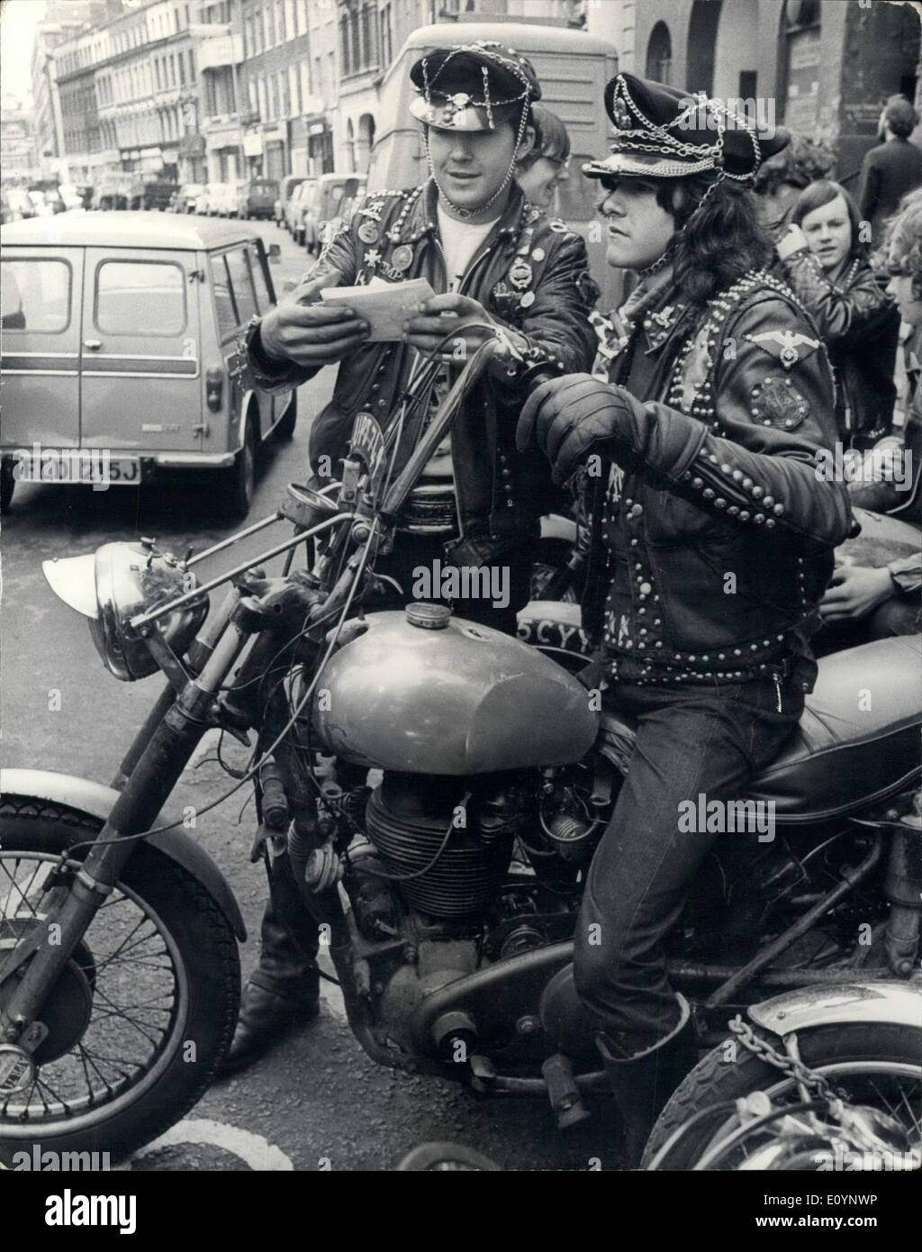 Jan. 01, 1971 - Young motor cycle gang helps Y.M.C.A. over the Postal Strike; eighteen young boys ages 16 upwards, who belong to a motor cycle gang known as the ''Devil's Henchmen'' and are members of the Islington Y.M.C.A., offered their services to the Y.M,C,A, as messengers for the entire period of the postal strike and this offer was accepted. Today thirteen members of the ''Devil's Henchmen' gang set off from 83, Endell St. London Central Y.M.C.A. and headquarters of the National Council of YMCA's to deliver YMCA mail throughout the Greater London area - Stock Image