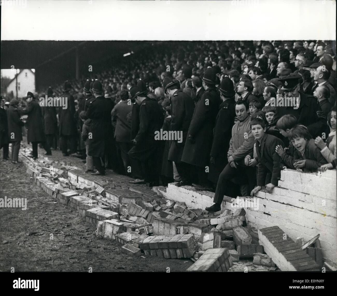 Jan. 01, 1971 - Collapsed Wall Injures 29 During The Oxford United V Watford F.A. Cup Match During the 4th round Stock Photo