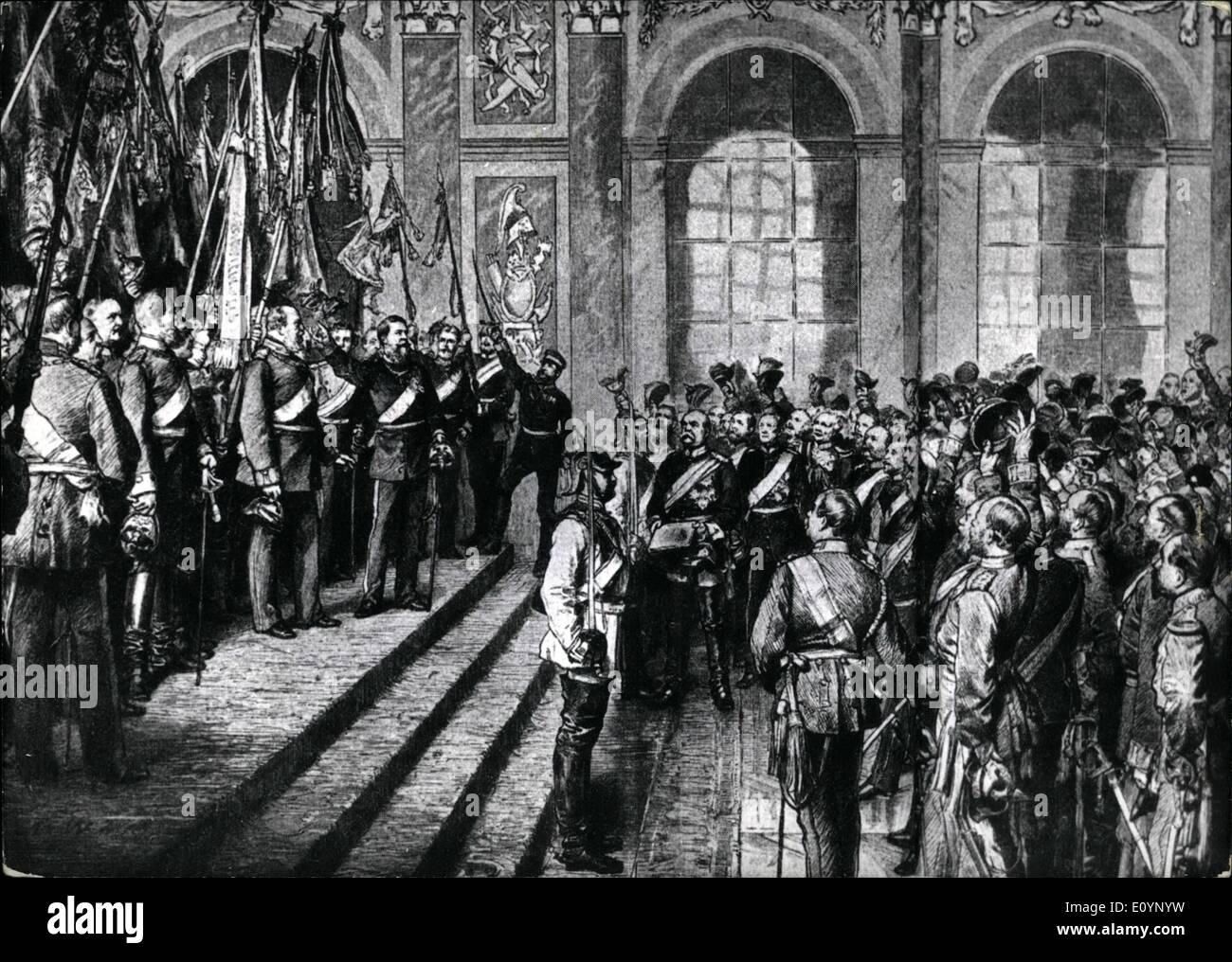 Jan. 01, 1971 - Emperor's Proclamation in Versailles: On January 18th, 1871 the Prussian King Wilhelm I is proclaimed German emperor at Versailles. Prussia leaded by Bismarck, has succeeded in solving the ''German Affairs''. Leaded by Prussia, 25 German separate states from together the second German Empire, Due to the forthcoming, victory over France the criticism of people against Prussia didn't find ant attention.Photo Shows Painting of Anton Von Weber showing the emperor's proclamation in Versailles - The Assembled sovereigns and soldiers welcome Emperor Wilhelm. In the Center: Bismarck. - Stock Image