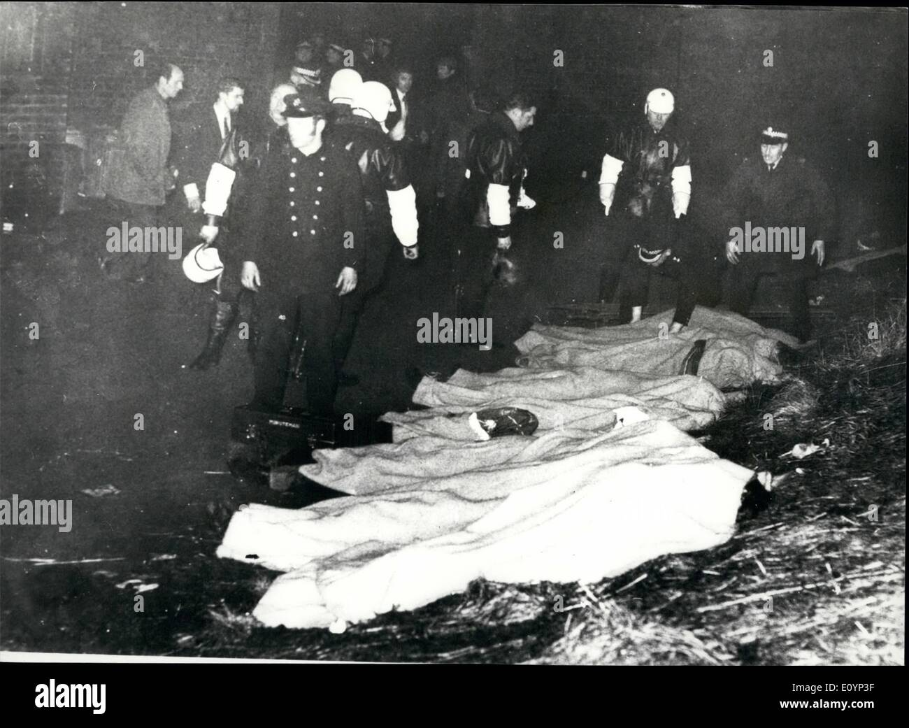 Jan. 01, 1971 - 66 Die In The Worst Disaster In The History Of British Football At Ibrox Park In Glasgow: 66 fans were killed and another 108 were in hospital early today after Britain's worst-ever soccer disaster. It happened yesterday at Ibox Park, Glasgow, after the traditional New Year game between Glasgow Rangers and Celtic. As the 80,000 fans were leaving the ground somebody fell on the sloping exit terracing, others fell on top and it snowballed until a crush barrier collapsed, and most of those who died were trampled on and suffocated - Stock Image