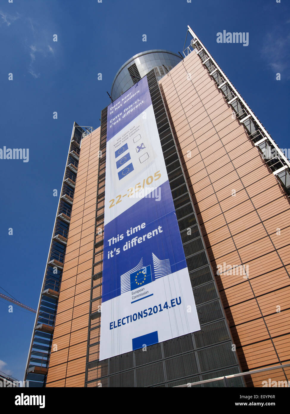 European elections may 2014 banner on the Berlaymont building in Brussels, Belgium - Stock Image