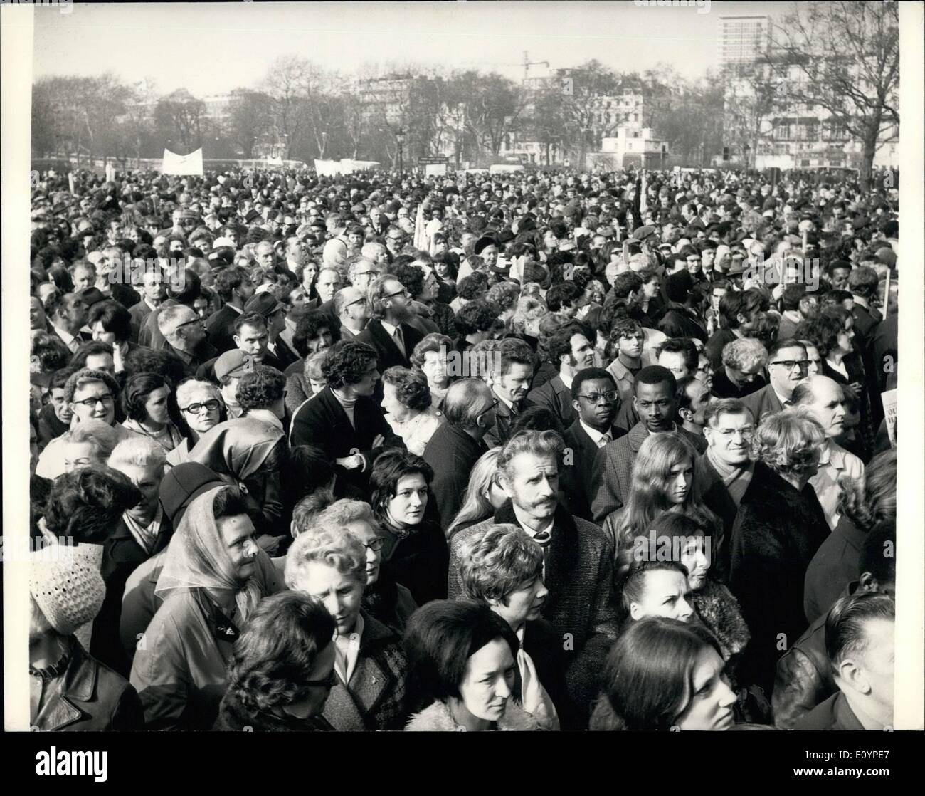 Feb. 02, 1971 - Striking Postal workers are joined by post office engineering union at mass Rally in Hyde park. Post office strikers from many parts office engineering union, who are giving their support to the strikers , when they attended another mass rally in Hyde Park today. They were addressed by Mr. Tom Jackson , chief of the Post Office workers' Union, and Lord Delacourt Smith general secretary of the Post office Engineering Union. - Stock Image