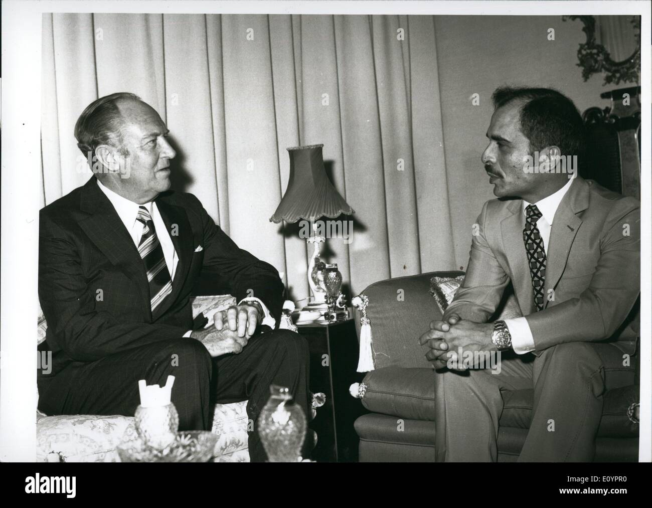 Mar. 03, 1971 - King Hussein, in a separate meeting with William Rogers at AL-Hummat Palace, near Amman. Other Pictures showing - Stock Image