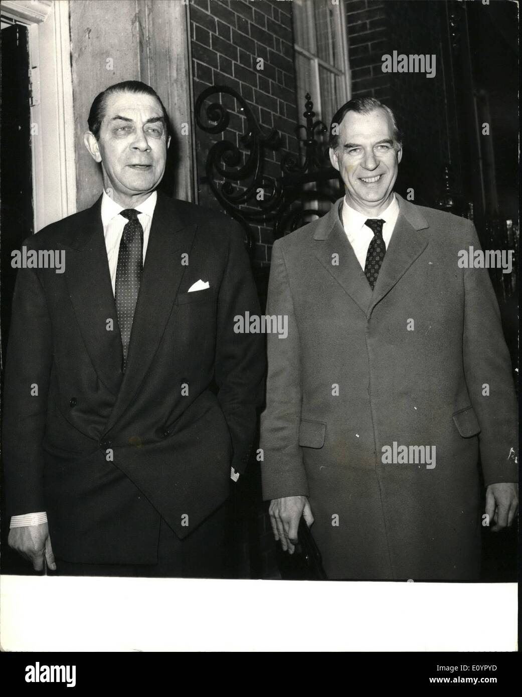 Mar. 03, 1971 - Confederation of British Industry chiefs went to No. 10 Downing Street today to discuss economy eith the Prime Mibnister,Mr Heath. Keystone photo shows: Mr John Partridge on left,President of the C.B.I. and Mr Campbell Adamson,Director General of the C.B.I. arriving at No. 10 Downing Street for the meeting with Mr. Heath this afternoon - Stock Image