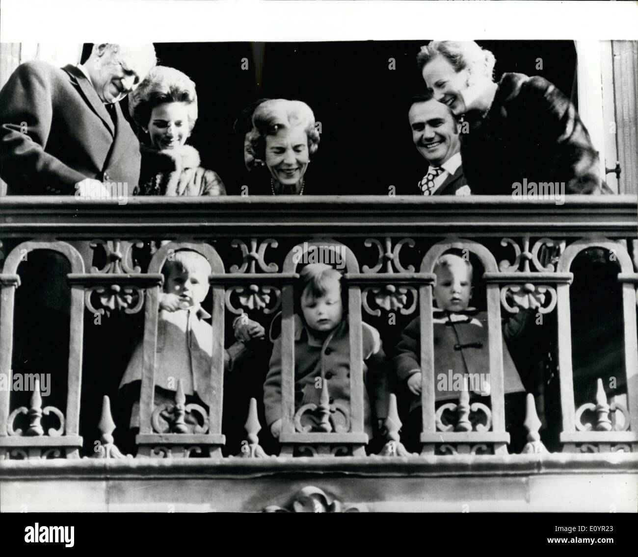 Mar. 03, 1971 - King Frederik of Denmark celebrates his 72nd birthday: King Frederik of Denmark celebrated his 72nd birthday this week with a family gathering at Amalienborg Castle. Photo shows members of the Danish Royal Family appear on the balcony to acknowledge the cheers of the crowd. (L to R) King Frederik, Queen Anne-Marie Princess Benedikte, Queen Ingrid Prince Henrik, Princess Margarethe. Seen through the balustrade (L to R) the Prince Gustav, Frederik and Joachim. - Stock Image