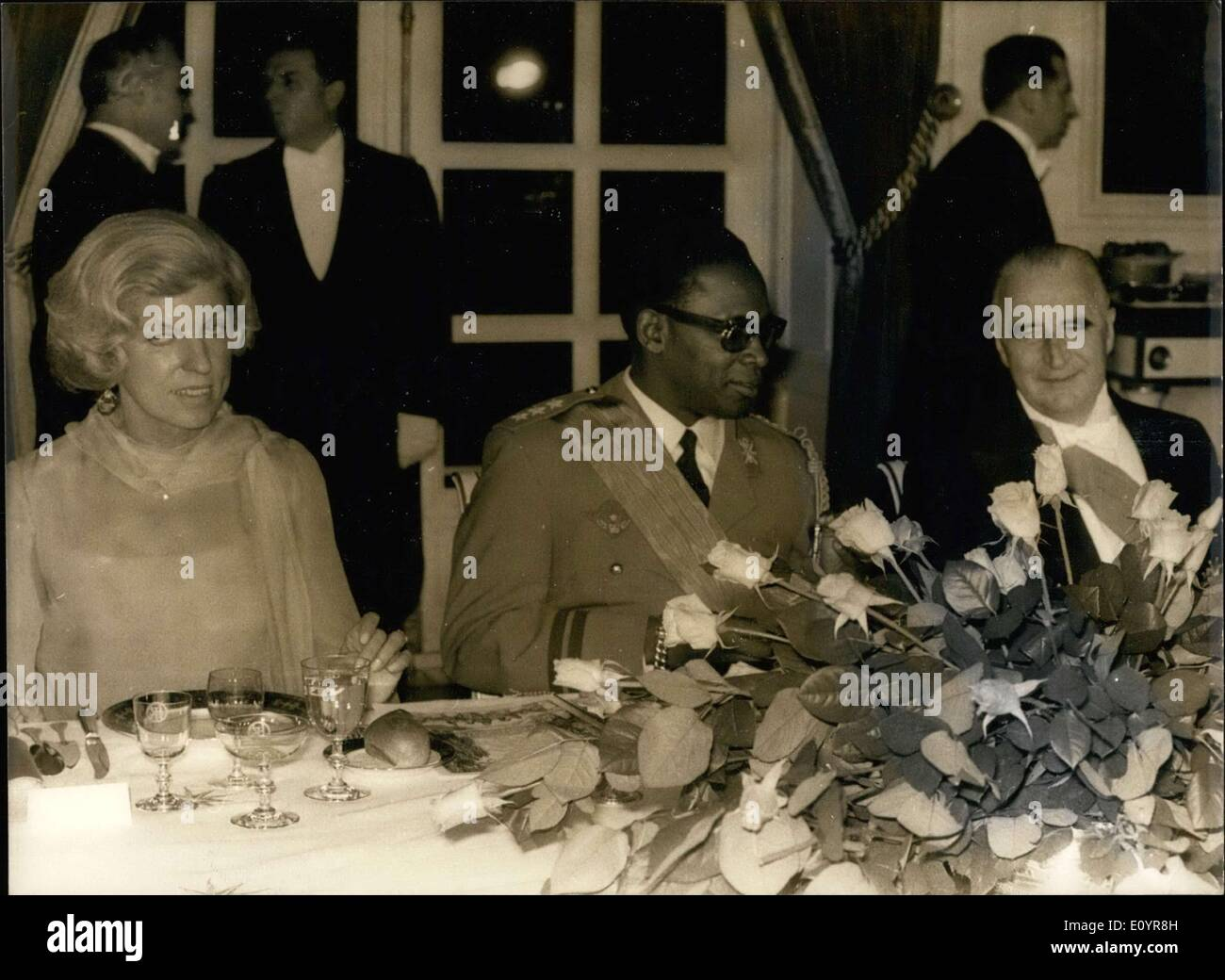 Mar. 30, 1971 - On General Mobutu's first day visiting Paris, a dinner at the Grand Trianon and a play from the Comedie Francaise at the Louis XV Theater at Versailles were offered by President Pompidou and his wife. - Stock Image