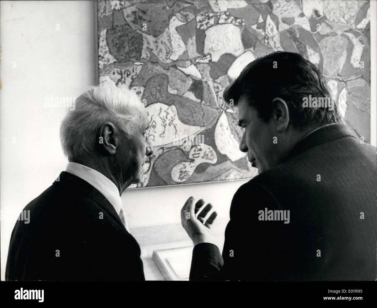 Apr. 02, 1971 - Celebrating his 80th birthday in Paris, Maz Ernst attended the opening of a retrospective exposition of his artwork at the Orangery Museum. More than 100 paintings and sculptures evoke his 50-year artistic career in this exposition. Duhamel is the Minister of Cultural Affairs. - Stock Image