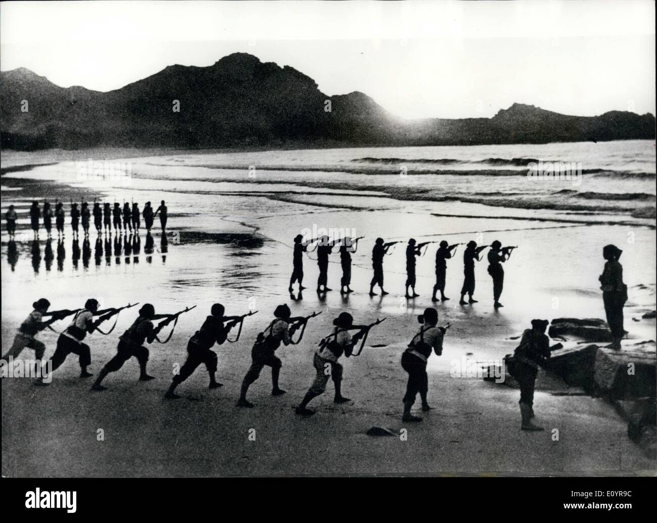 Apr. 04, 1971 - No Time For Ping Pong: Chinese militia Women in training for coastal defense in Fukien Province, belong to the Hsia-an production Brigade in Changpu Country. They were trained to replace men in work usually undertaken by men,and Participate in productive work during the day, and stand Sentry duty at night in their Coastal Section. - Stock Image