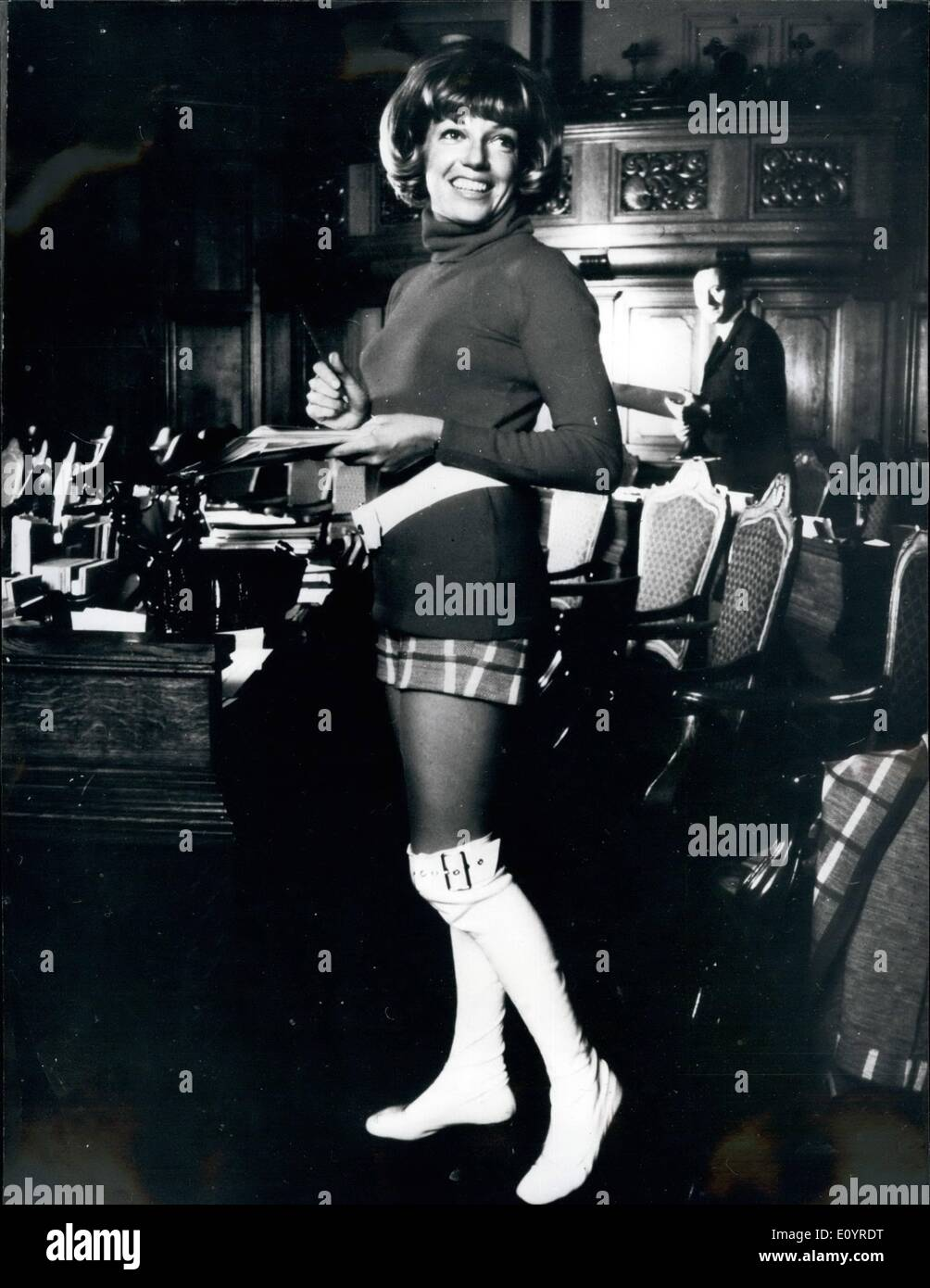 Apr. 04, 1971 - Lene - Member Of Danish Parliament - In Hot Pants: The youngest female member of Danish Parliament, Lene Bro (labour), really drew her college's attention to herself, when she started wearing hot pants in Parliament. When, in 1968 Lene Bro, who is married to Knud Bro (Conservative) showed up in mini-dresses, many members formed the idea that she had no respect for Parliament. But Lene says: ''I regard Parliament as work and work best with clothes suitable for me - I never dream of getting clothes special for my work - Stock Image