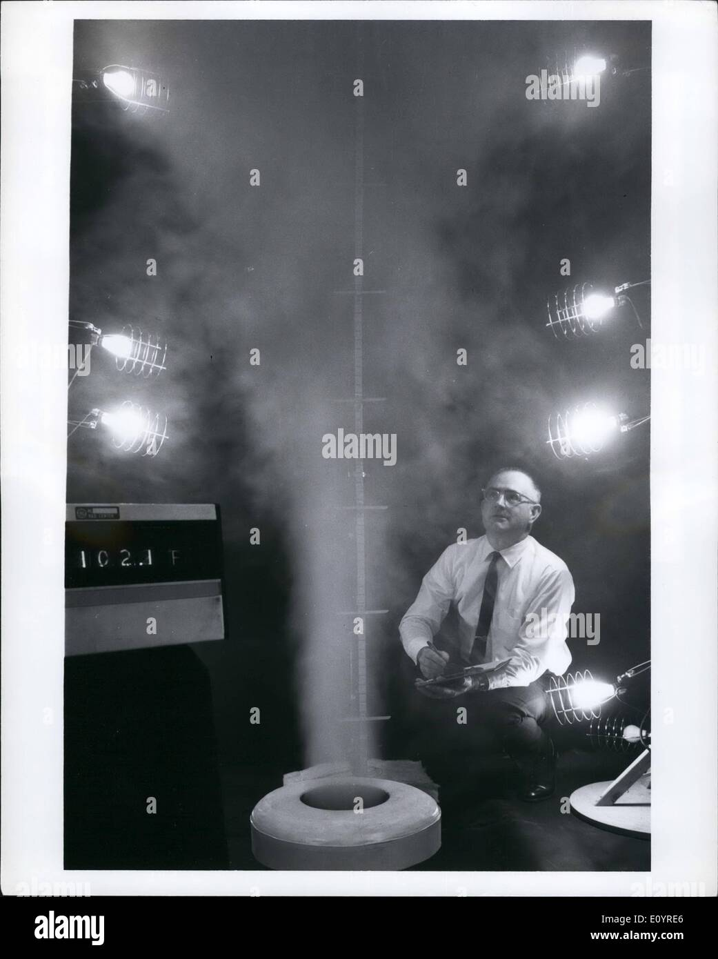 Apr. 04, 1971 - SMOG SMASHER. Plumes of warm, moist air - rising from this laboratory model of a proposed new cooling Stock Photo